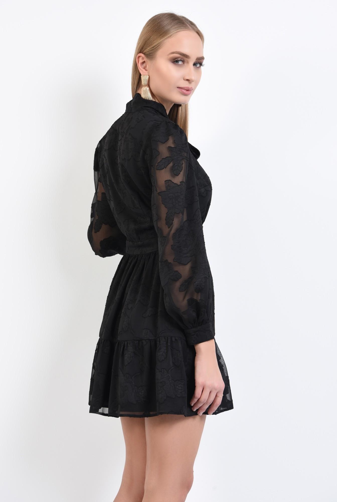 1 - rochie neagra, little black dress, croi evazat cu volan