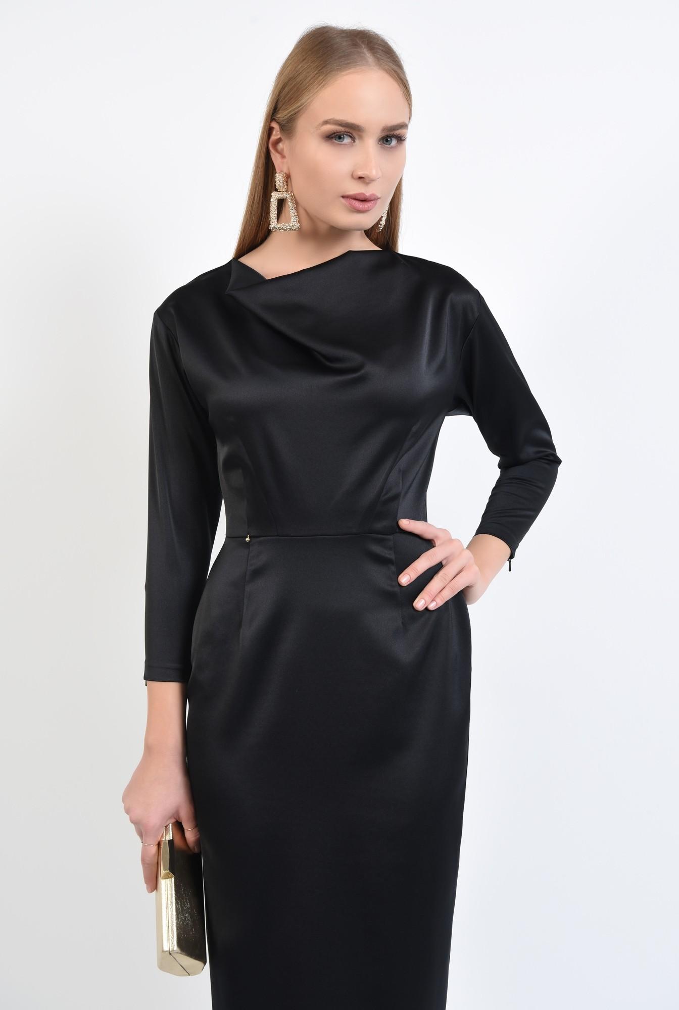 2 - rochie de ocazie, neagra, lunga, cambrata, drapata la decolteu
