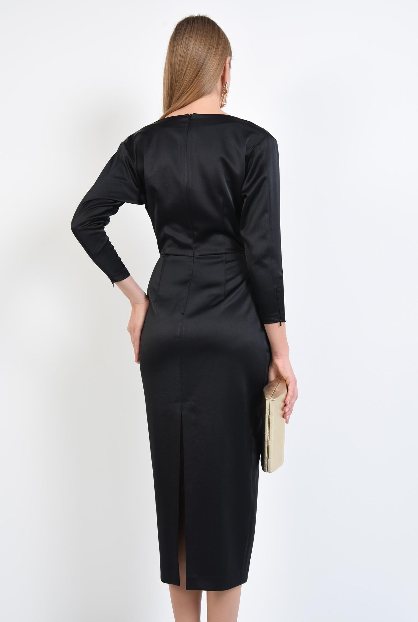 1 - rochie de ocazie, neagra, lunga, cambrata, drapata la decolteu