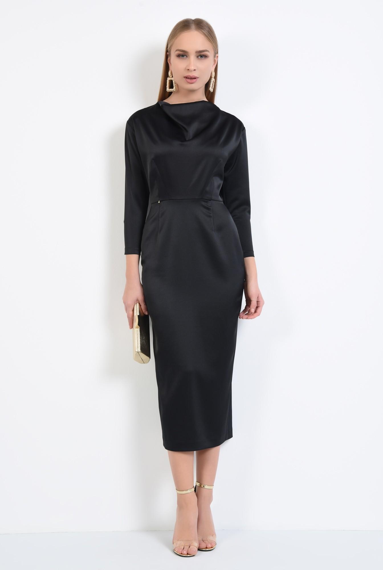 3 - rochie de ocazie, neagra, lunga, cambrata, drapata la decolteu