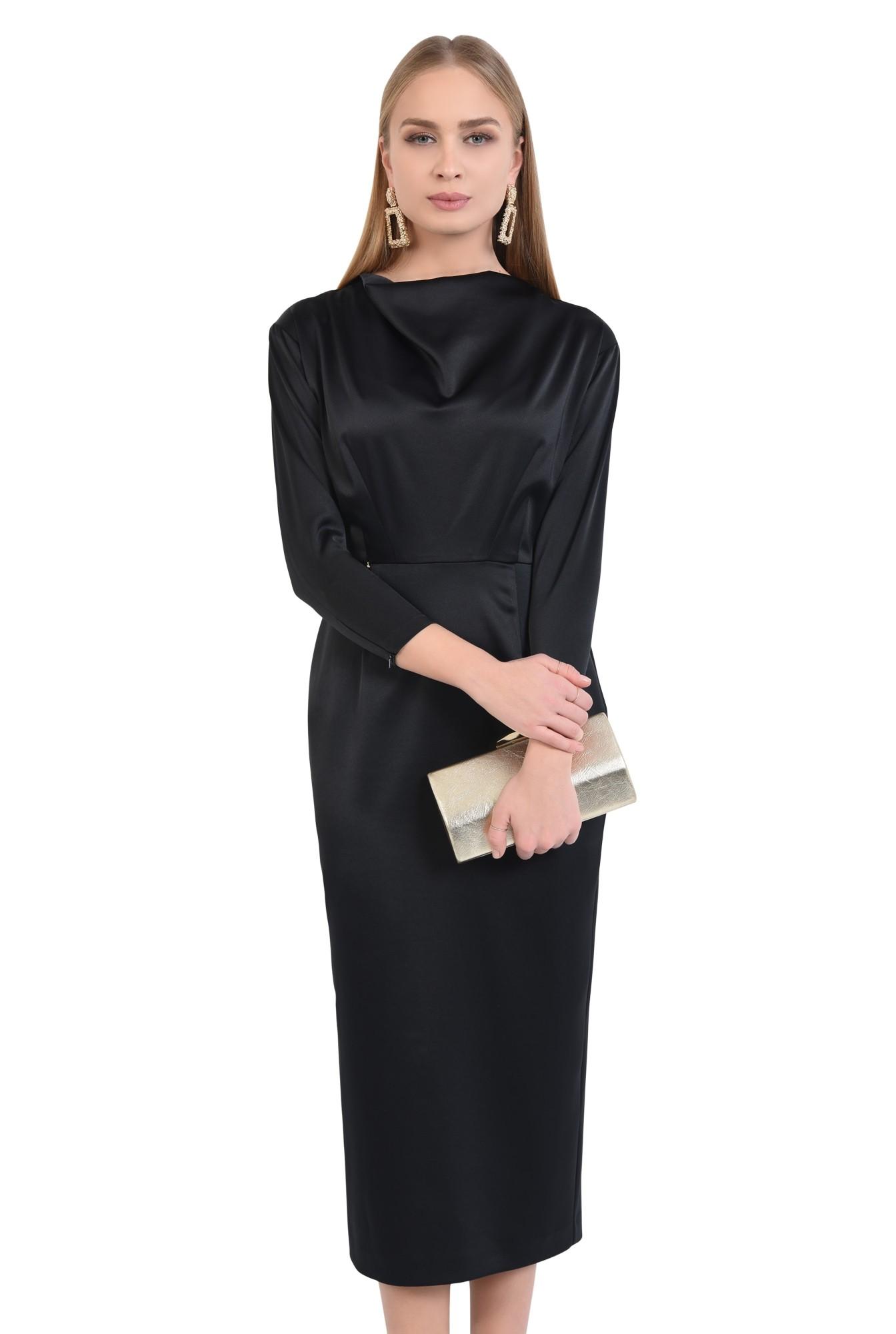 0 - rochie de ocazie, neagra, lunga, cambrata, drapata la decolteu