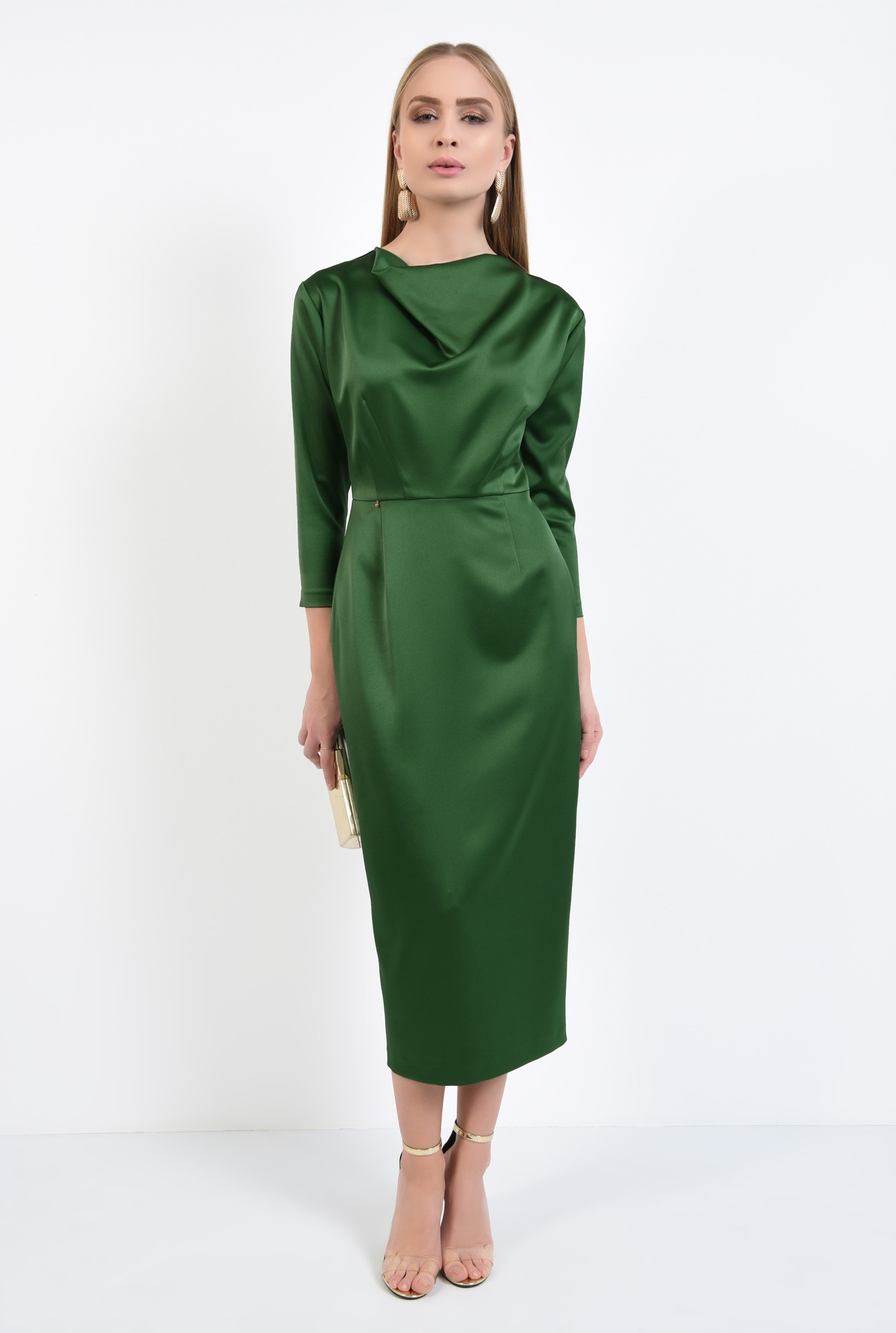 3 - rochie de ocazie, verde, maneci ajustate, drapata la decolteu