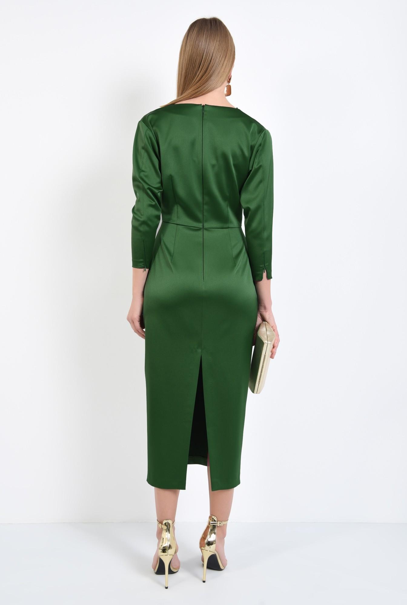 1 - rochie de ocazie, verde, maneci ajustate, drapata la decolteu