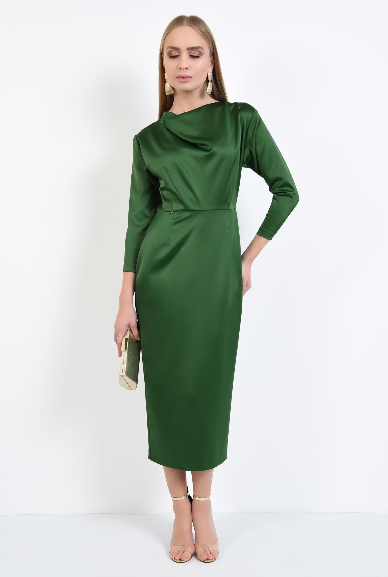 0 - rochie de ocazie, verde, maneci ajustate, drapata la decolteu