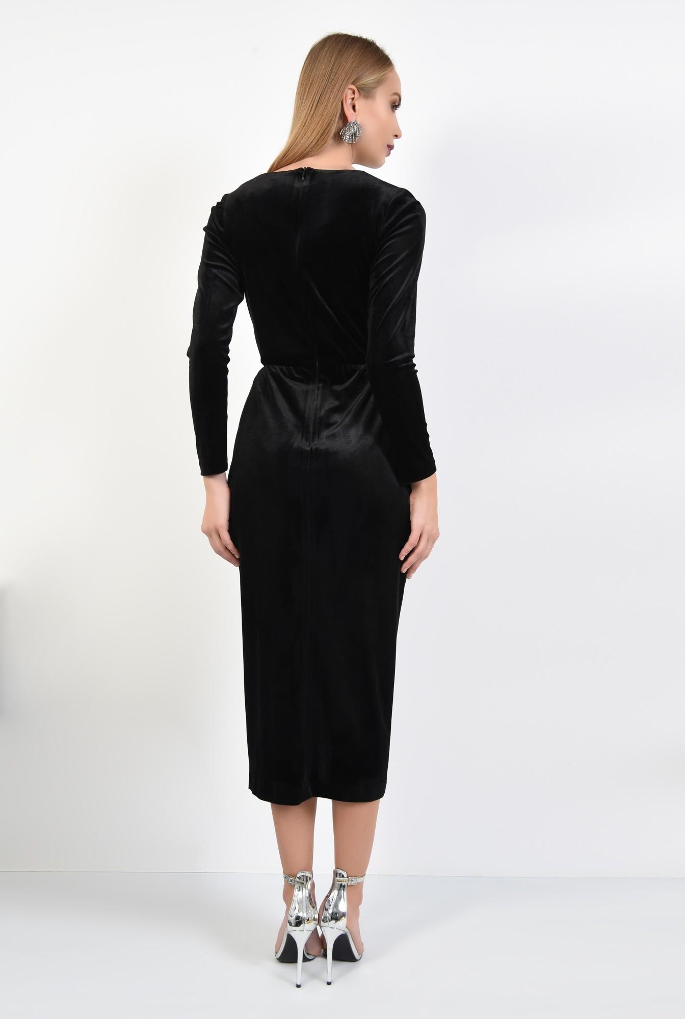 1 - rochie de seara, catifea, negru, pasmanterie la decolteu, parte peste parte