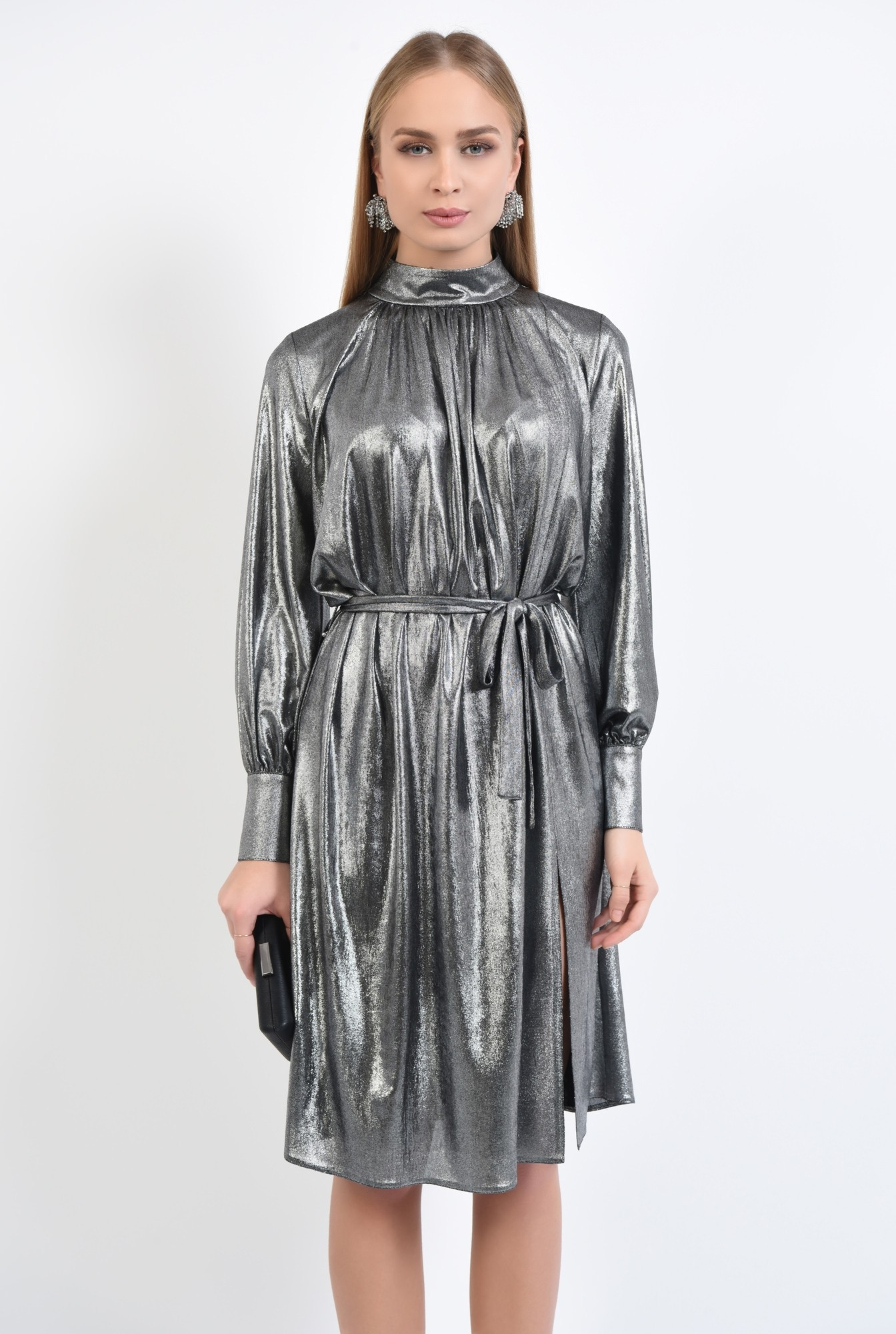 2 - 360 - rochie eleganta, midi, croi larg, maneci bufante cu manseta