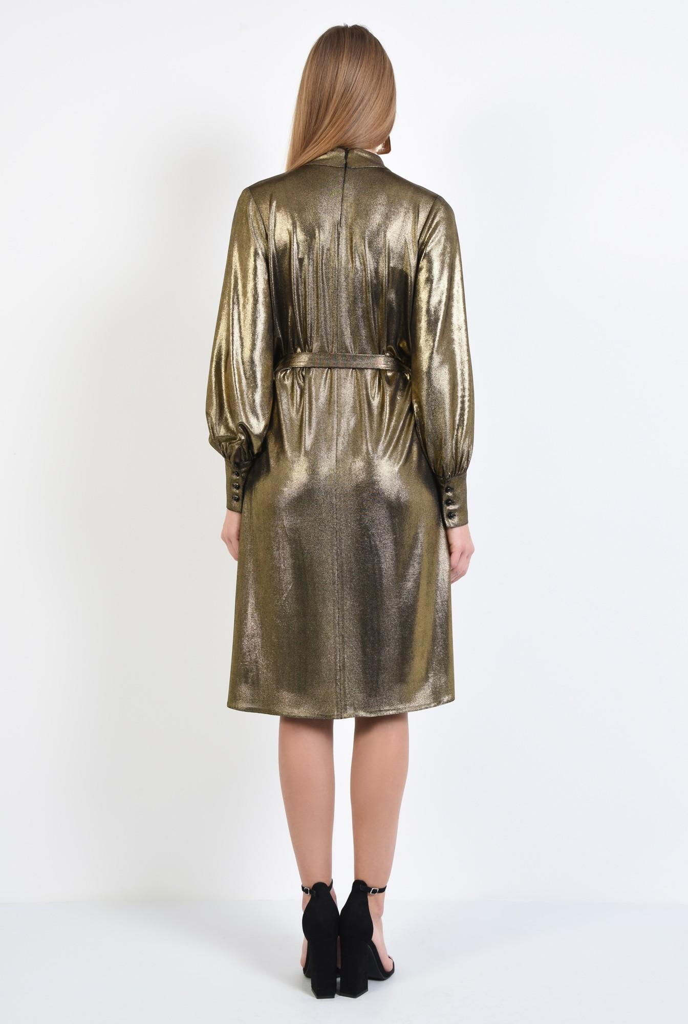 1 - rochie de ocazie, din lurex, aurie, cu crapeu