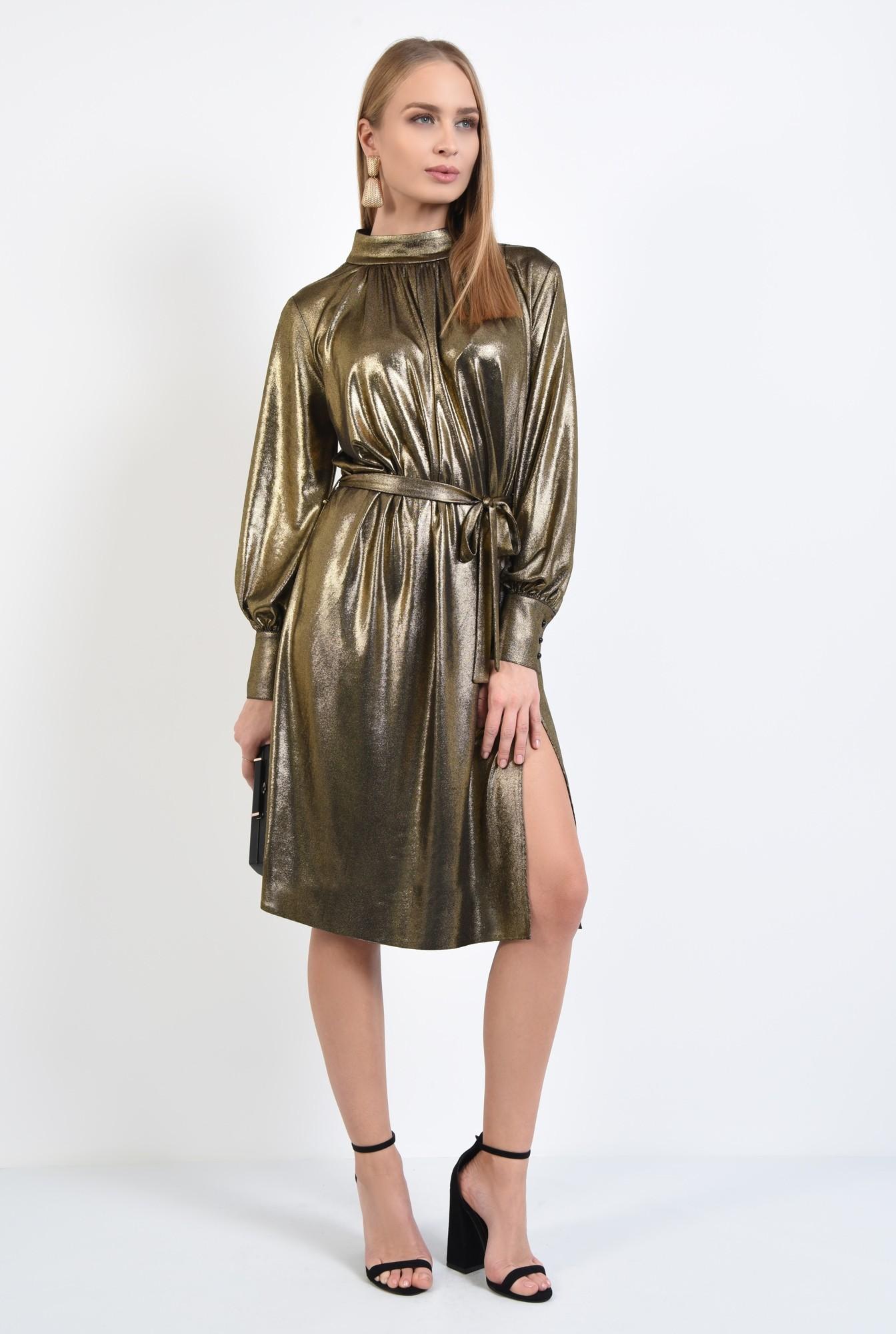 3 - rochie de ocazie, din lurex, aurie, cu crapeu