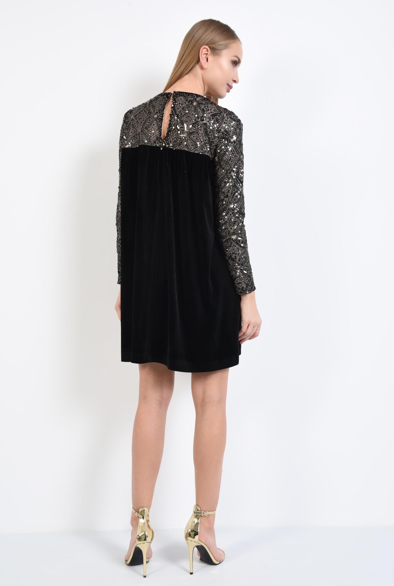 1 - 360 - rochie de ocazie, din catifea, paiete aurii, scurta, babydoll