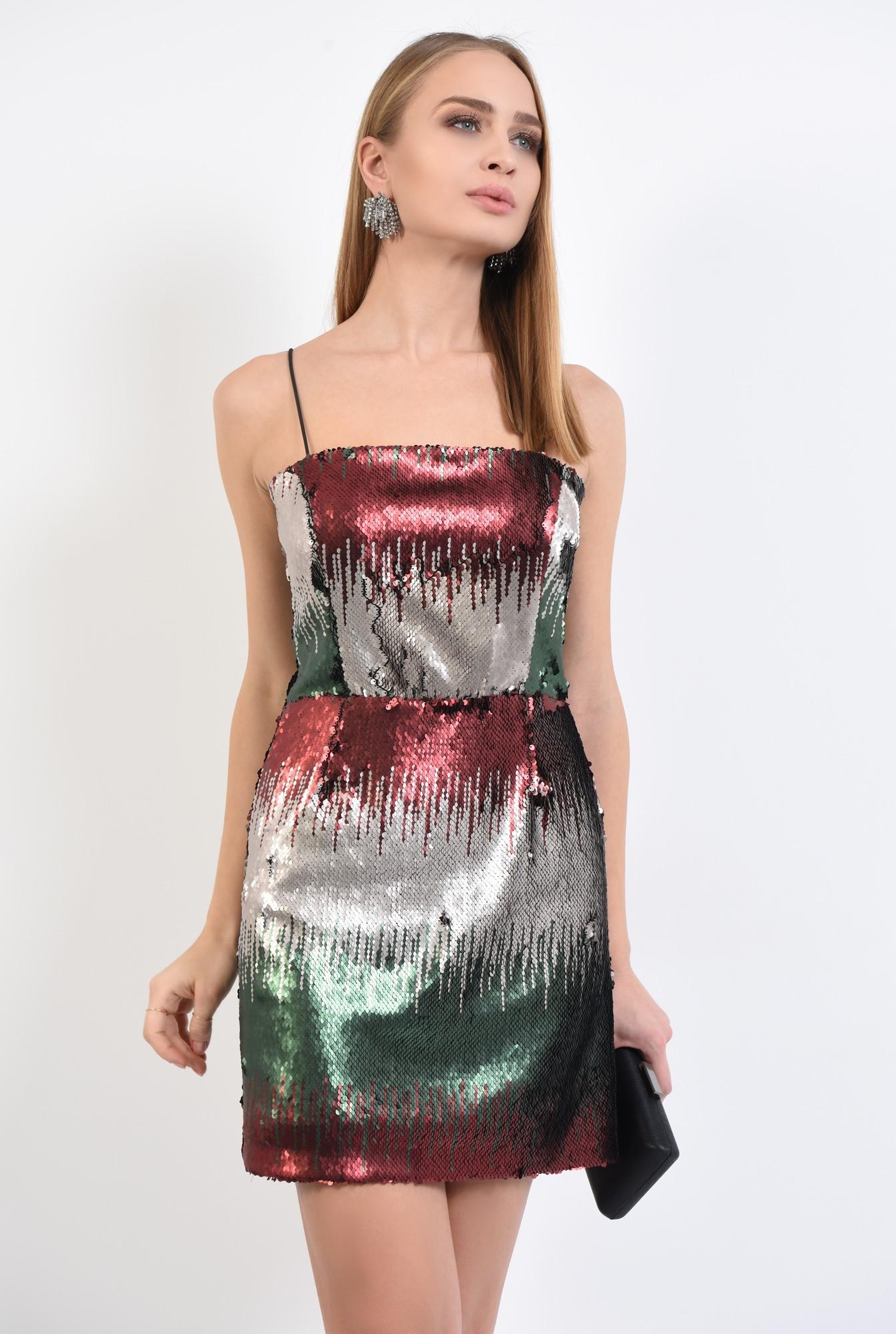 2 - rochie de seara, cu paiete multicolore, mini, cambrata, bretele suntiri