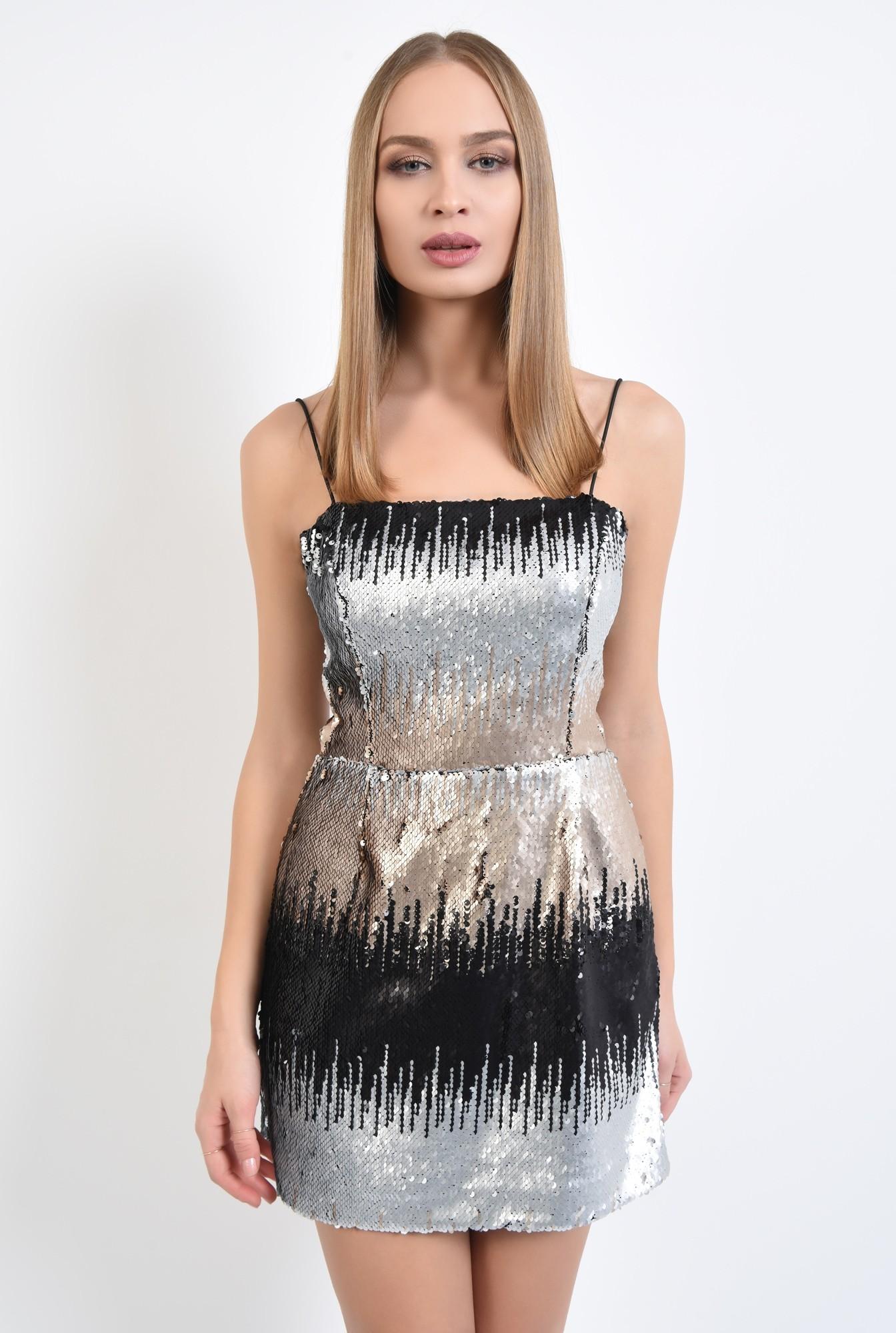 2 - rochie de ocazie, scurta, cu paiete multicolore, bretele subtiri