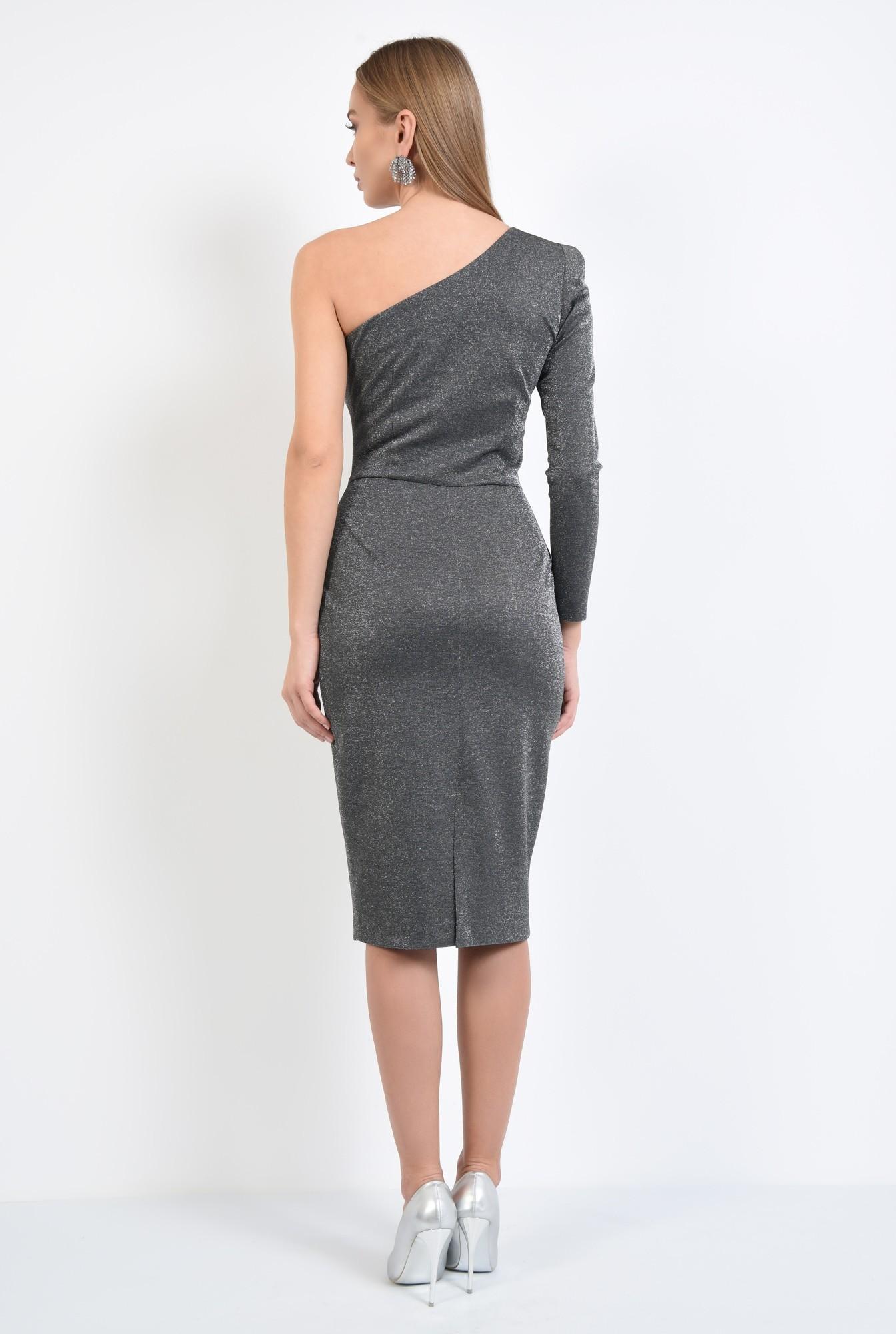 1 - rochie eleganta, conica, midi, argintie, rochii online