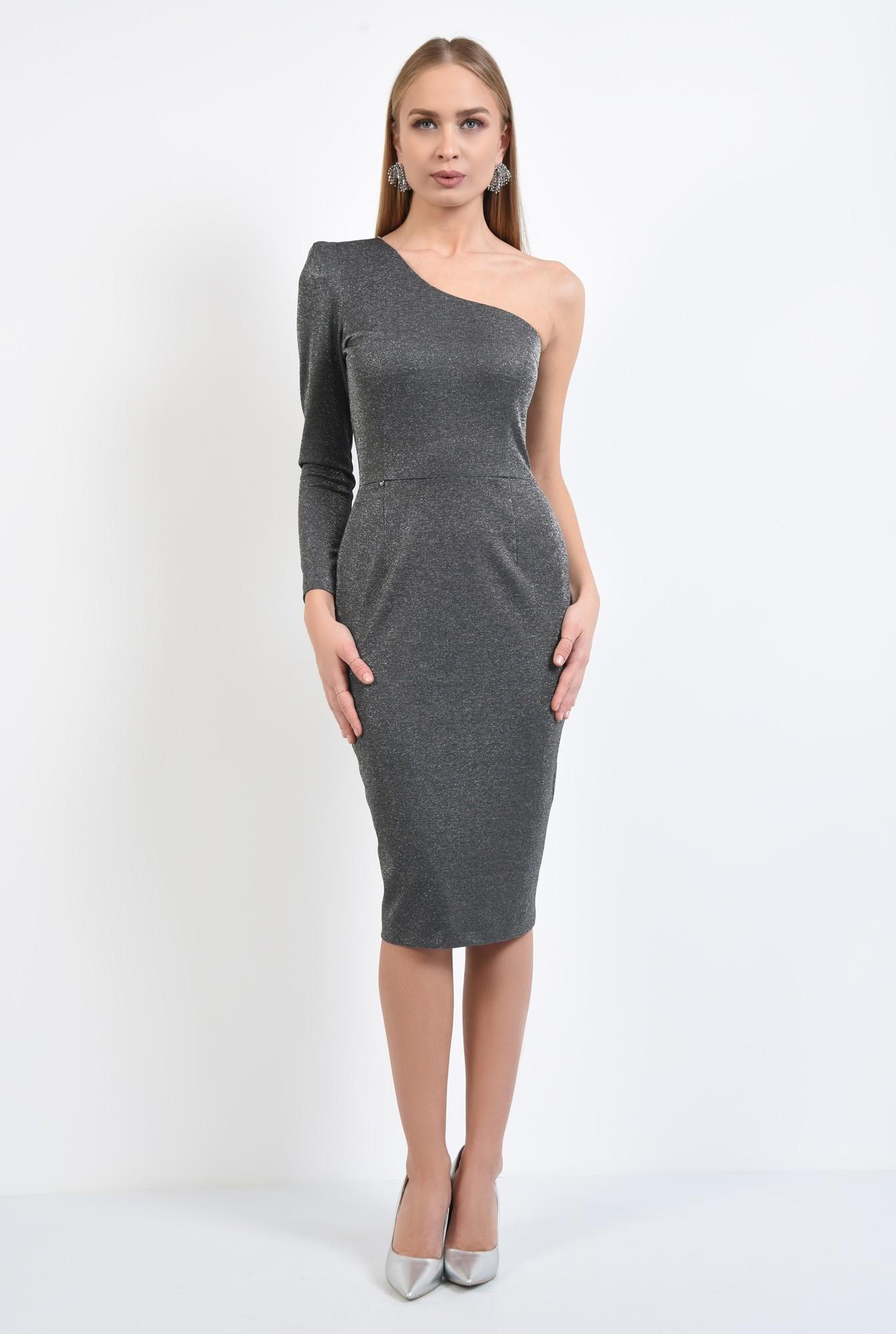 3 - rochie eleganta, conica, midi, argintie, rochii online