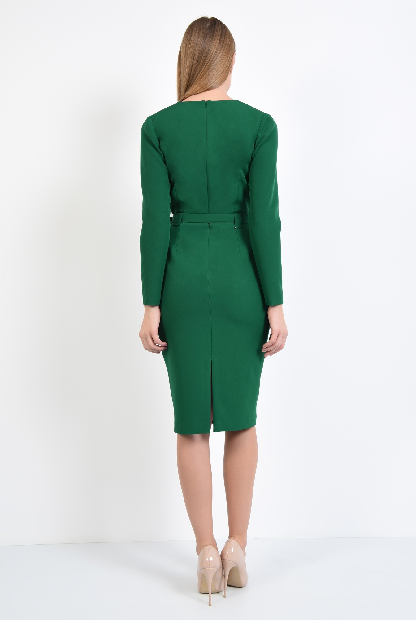 1 - rochie casual, midi, maneci lungi, centura ingusta, verde