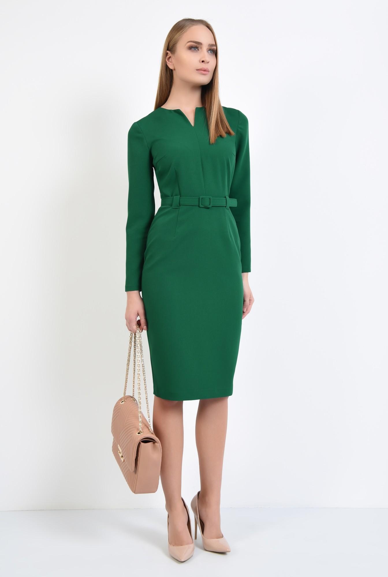 3 - rochie casual, midi, maneci lungi, centura ingusta, verde