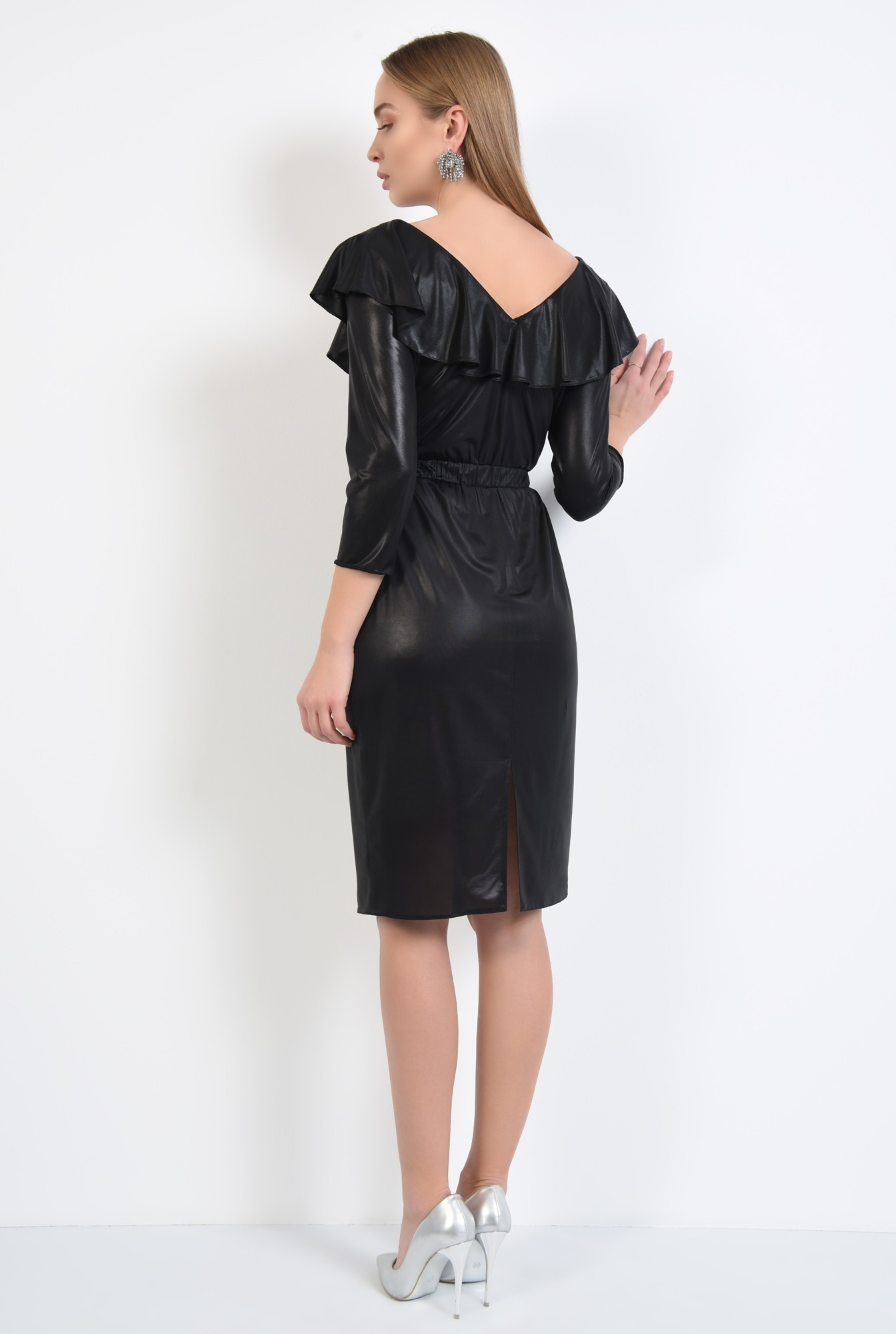1 - rochie neagra, de ocazie, midi, cambrata cu elastic, cu volane