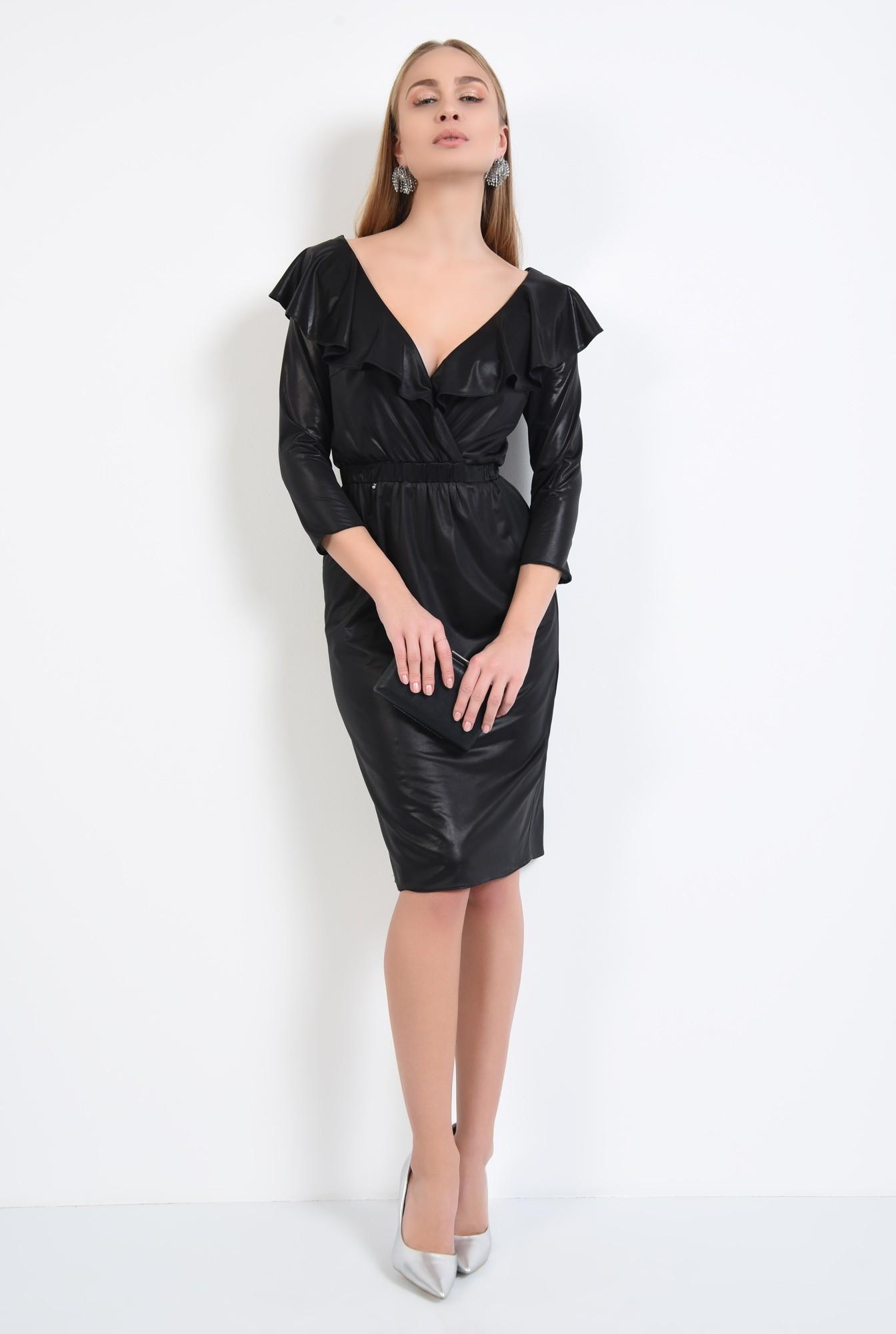 3 - rochie neagra, de ocazie, midi, cambrata cu elastic, cu volane