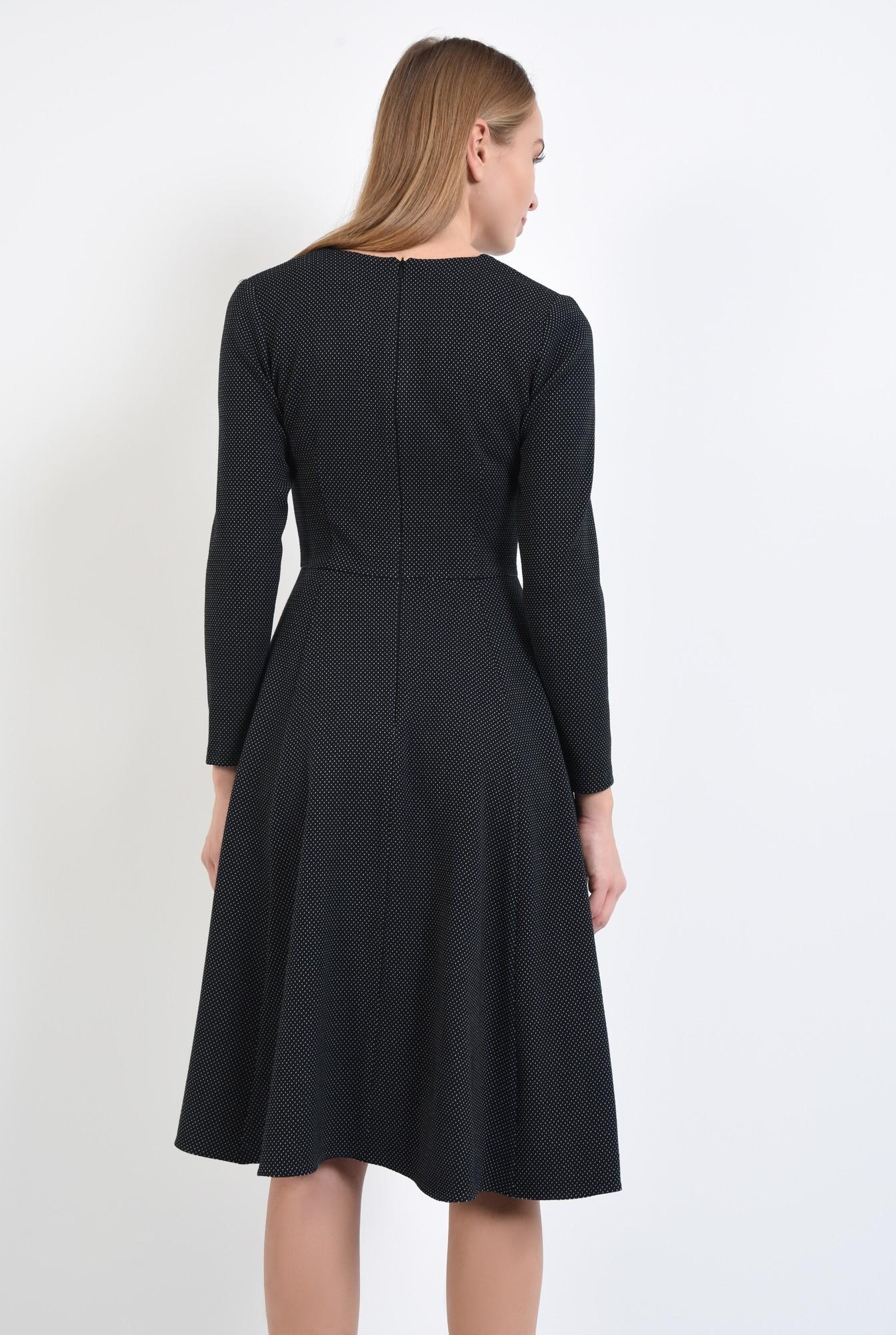 1 - 360 - rochie neagra cu picouri albe, evazata, midi, decolteu anchior