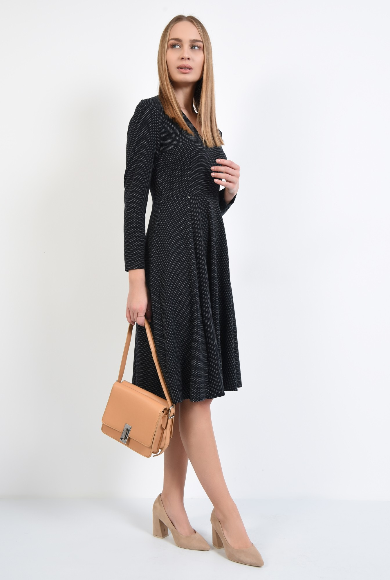 0 - 360 - rochie neagra cu picouri albe, evazata, midi, decolteu anchior