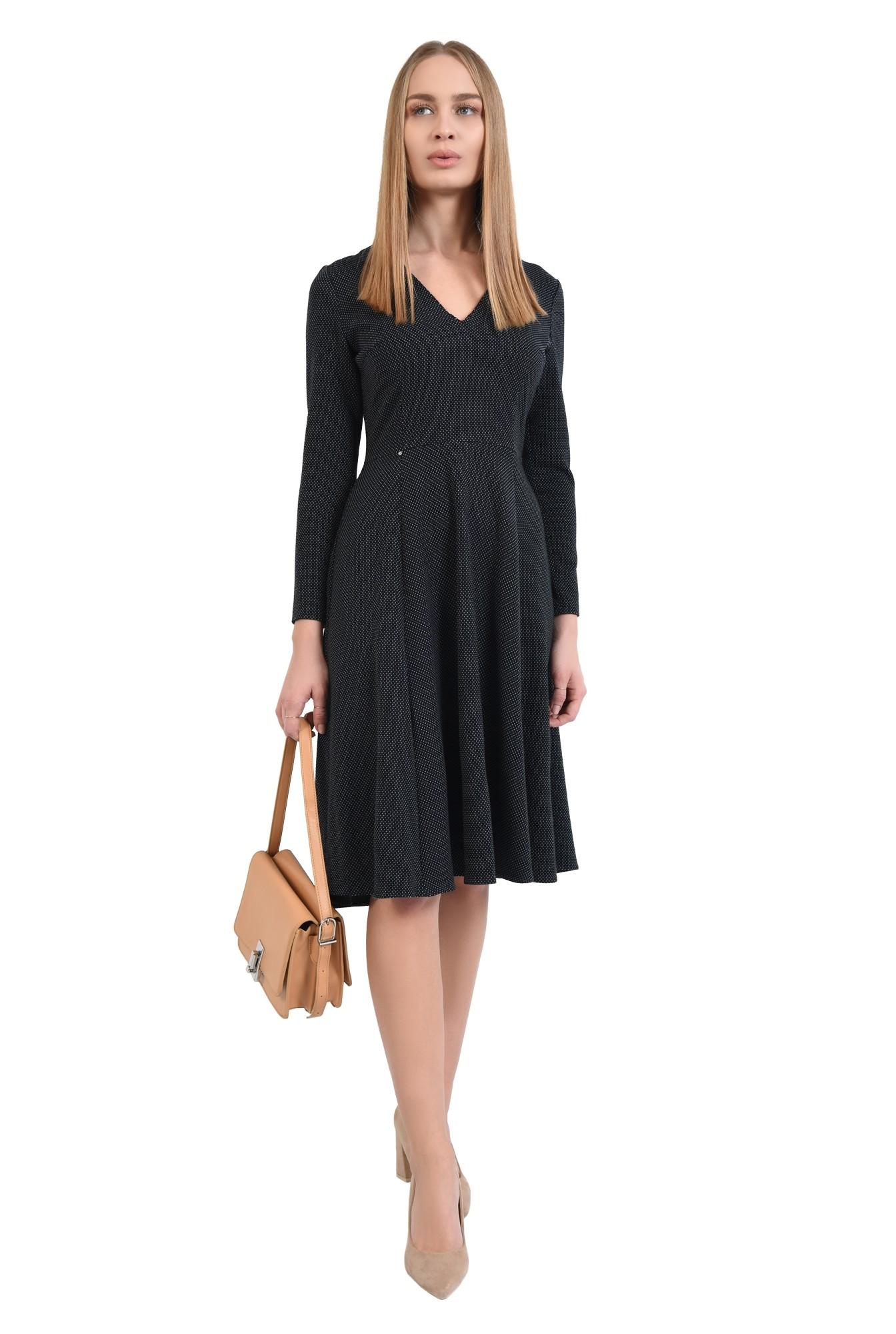 3 - 360 - rochie neagra cu picouri albe, evazata, midi, decolteu anchior