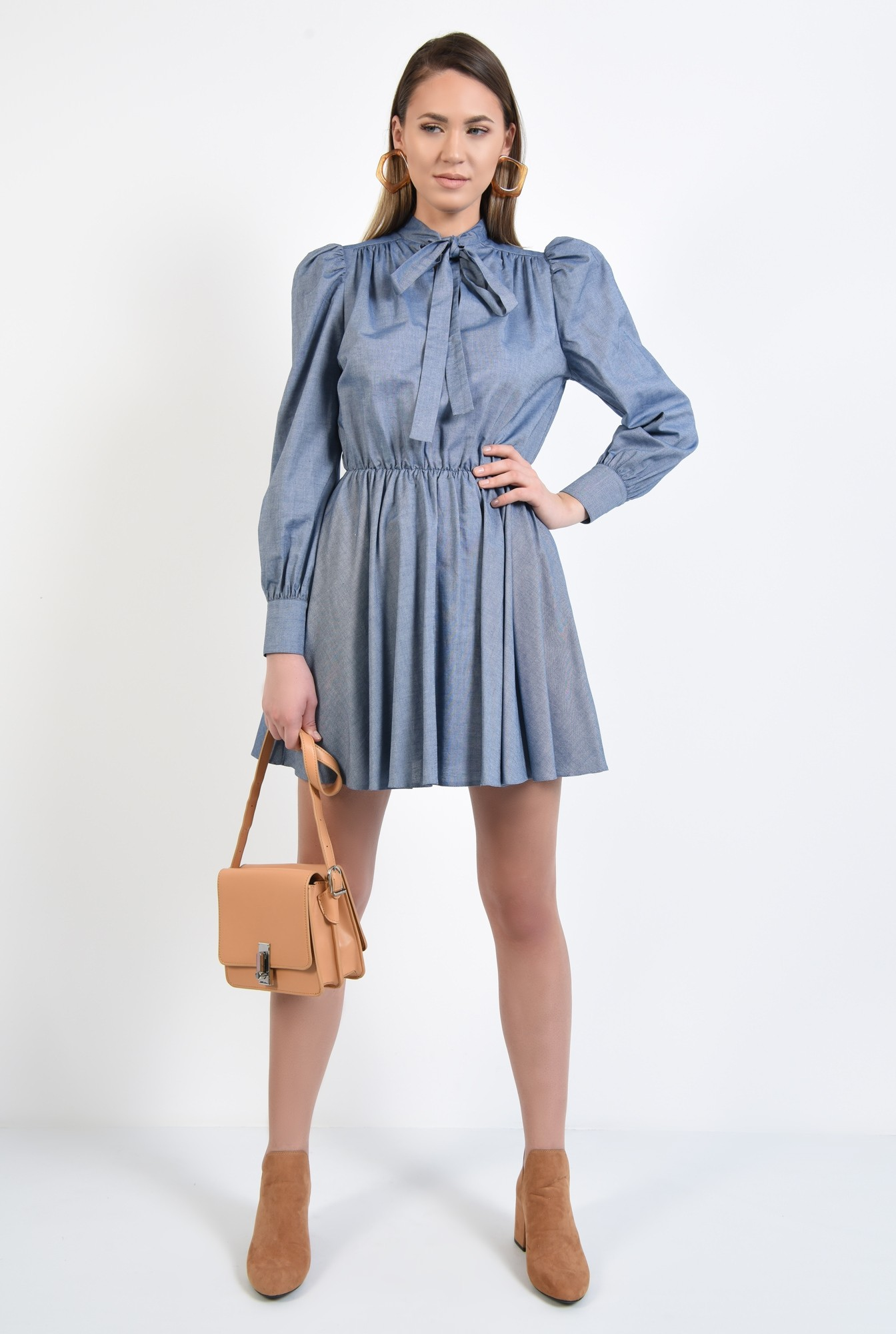 3 - rochie casual, bleu, scurta, evazata, funda cu la gat