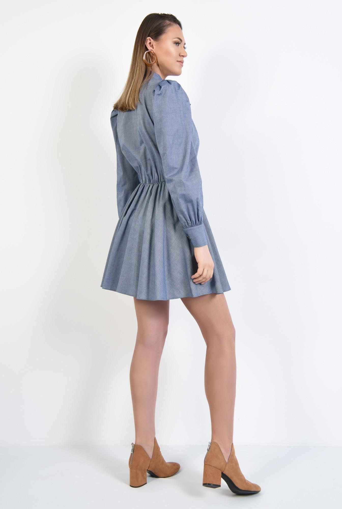 1 - rochie casual, bleu, scurta, evazata, funda cu la gat