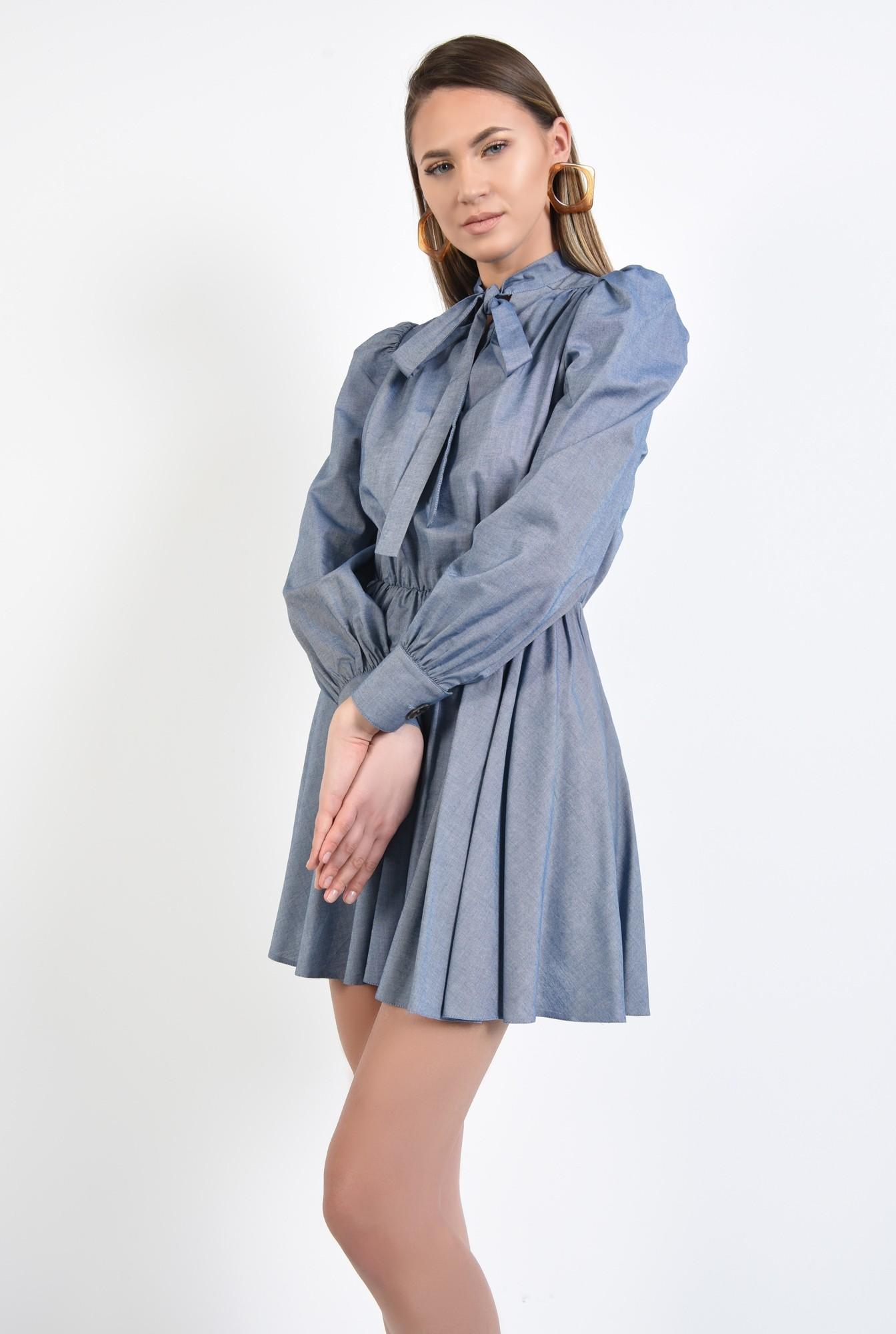 2 - rochie casual, bleu, scurta, evazata, funda cu la gat