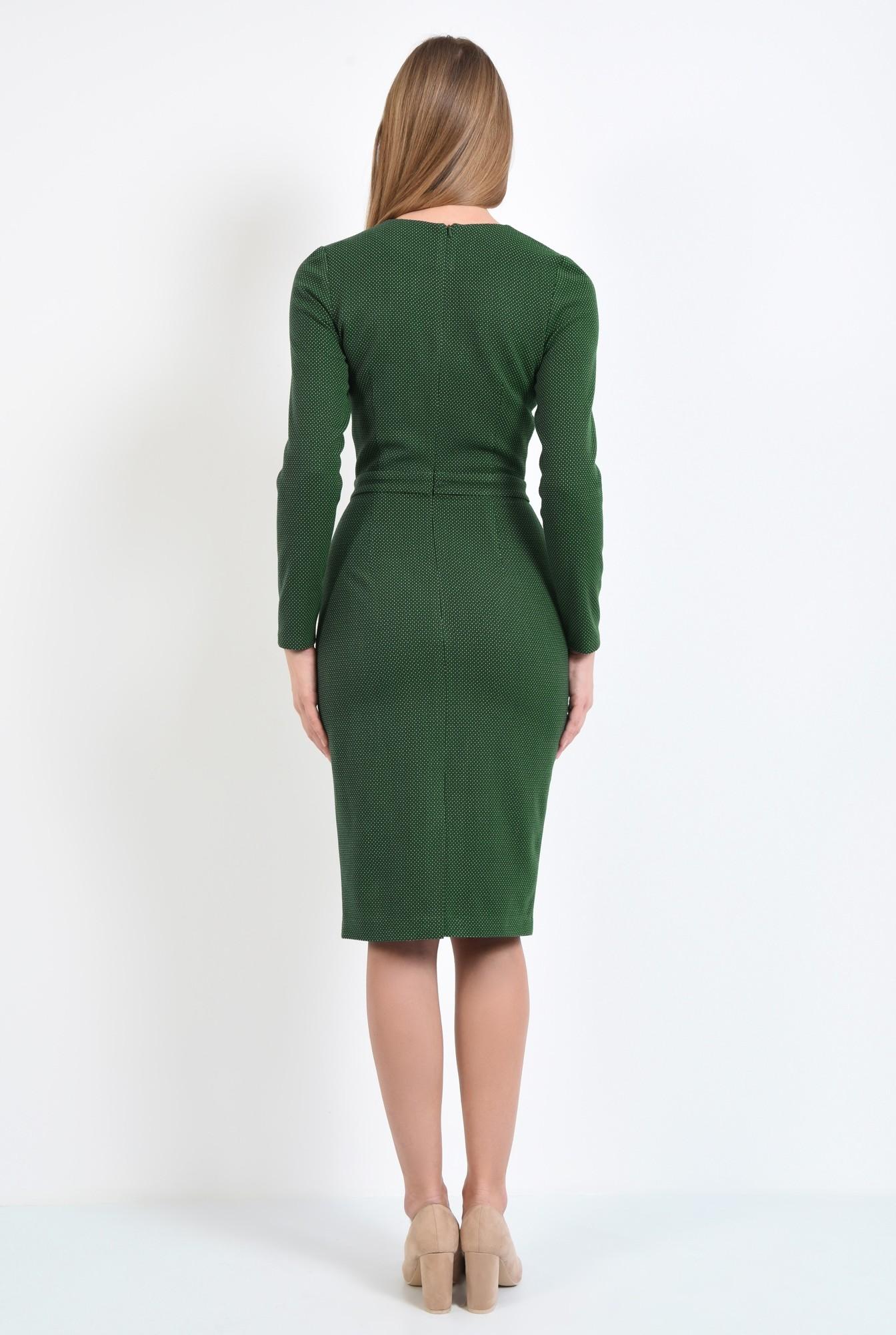 1 - rochie verde, creion, conica, midi, decolteu la baza gatului