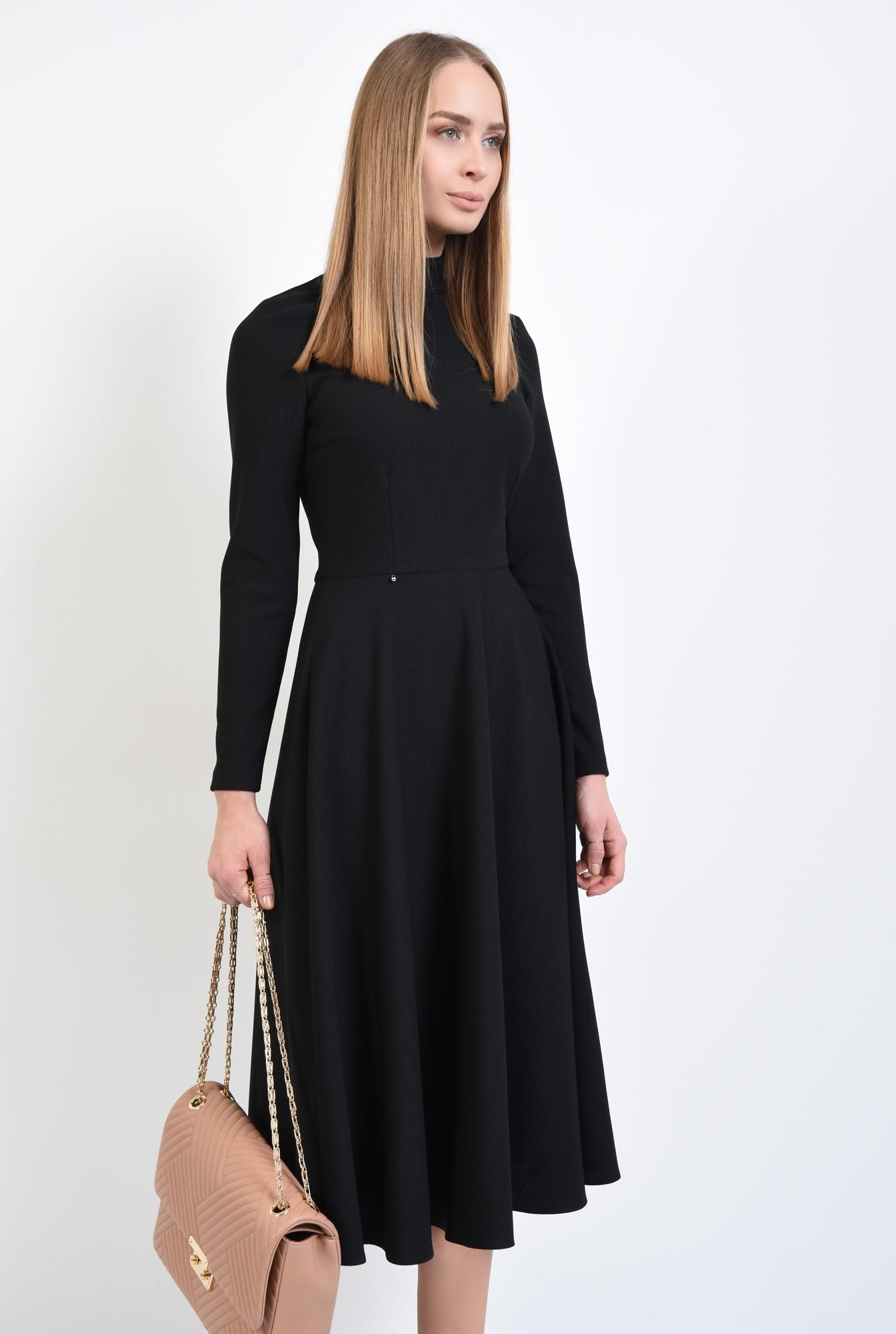 2 - rochie casual, neagra, evazata, nasturi la spate, guler inalt