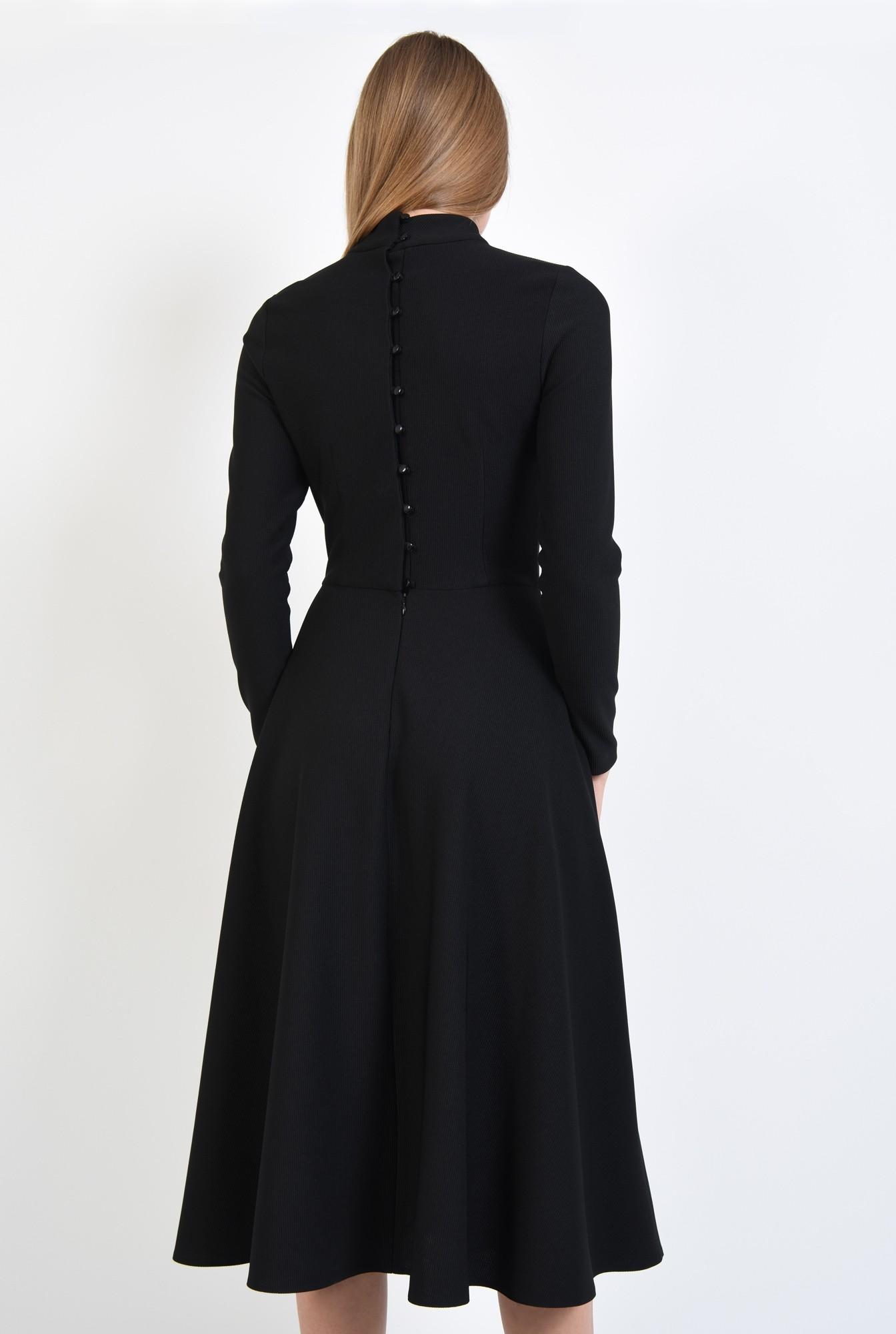 1 - rochie casual, neagra, evazata, nasturi la spate, guler inalt