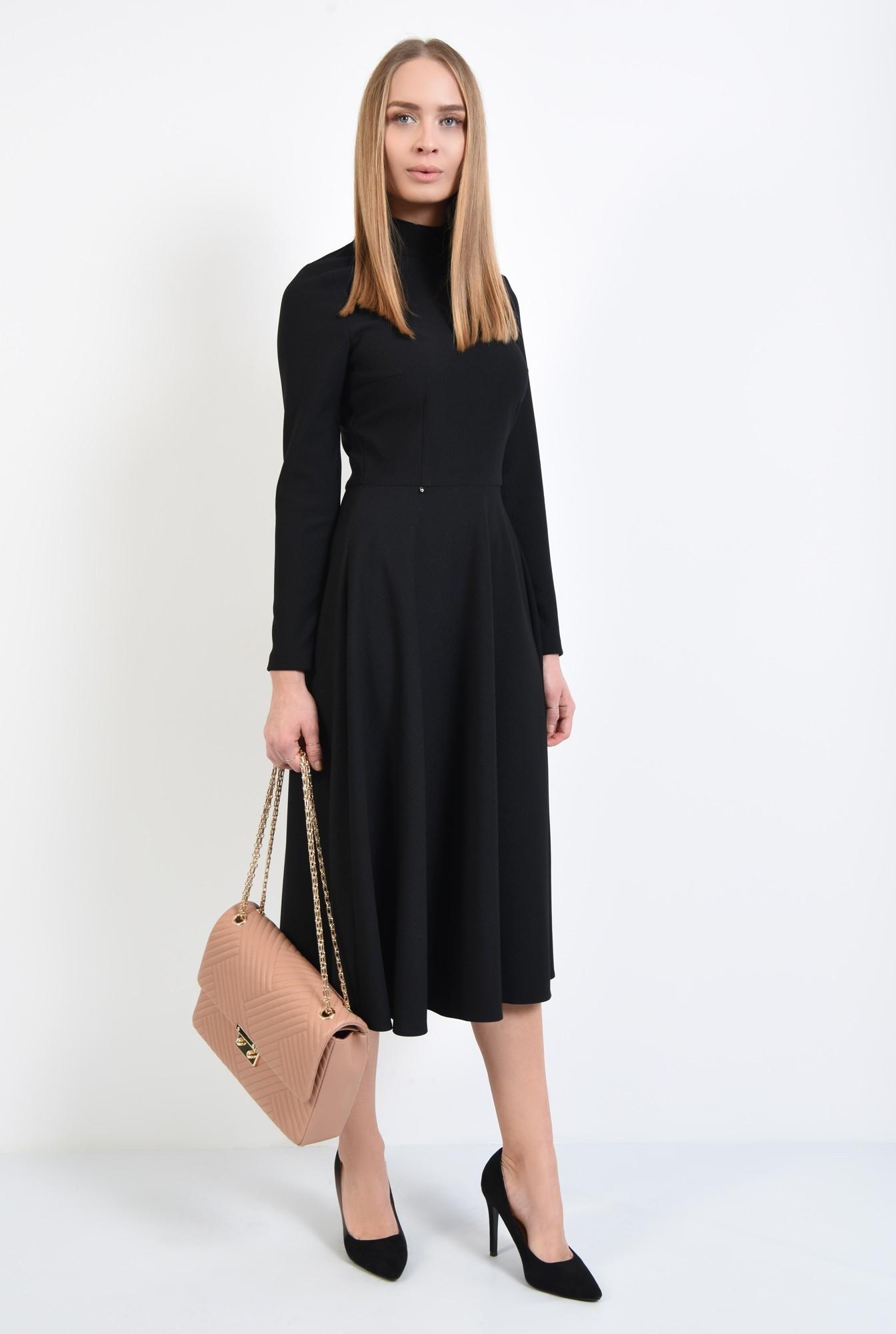 3 - rochie casual, neagra, evazata, nasturi la spate, guler inalt