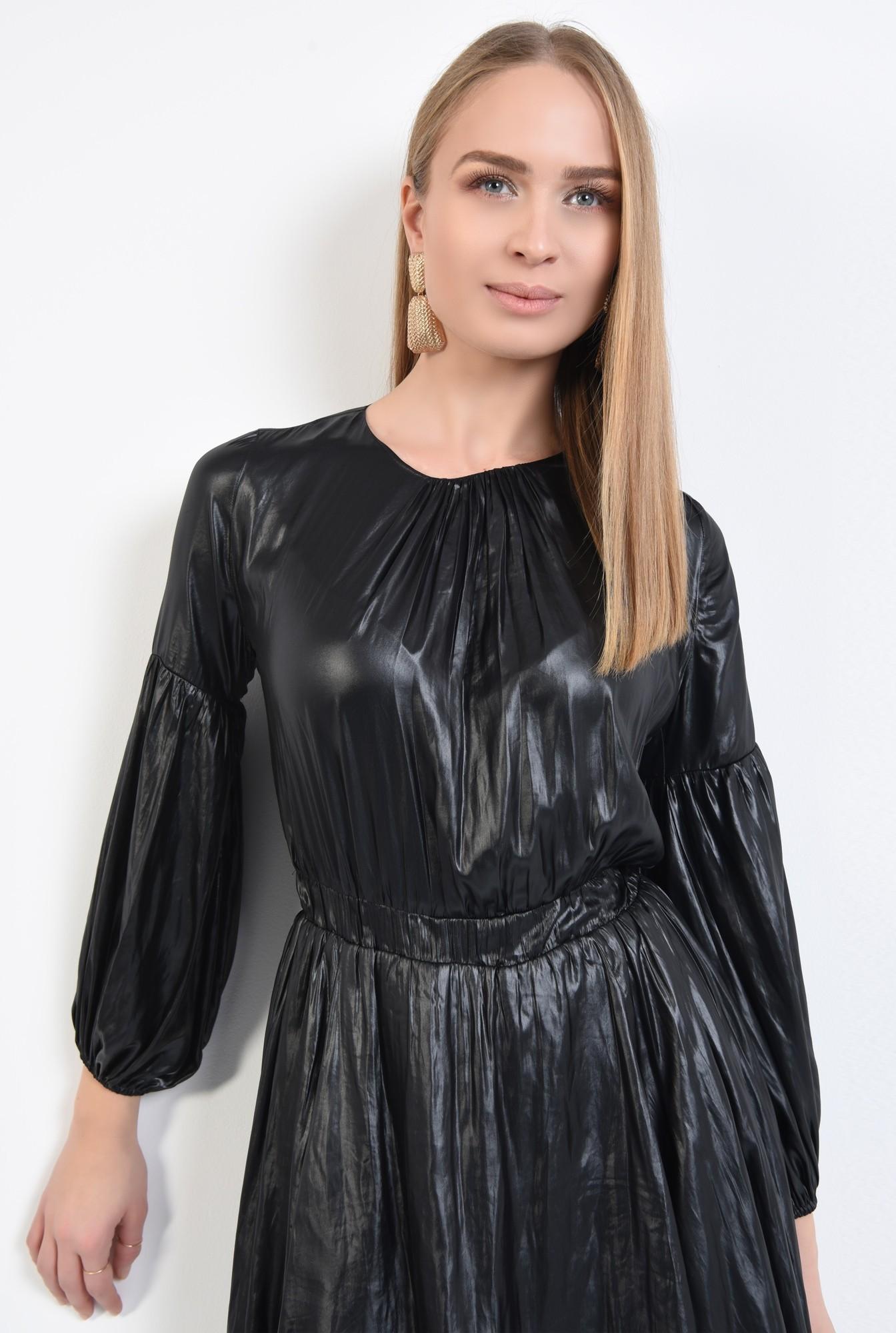 2 - rochie neagra, mini, casual, fronseuri la decolteu