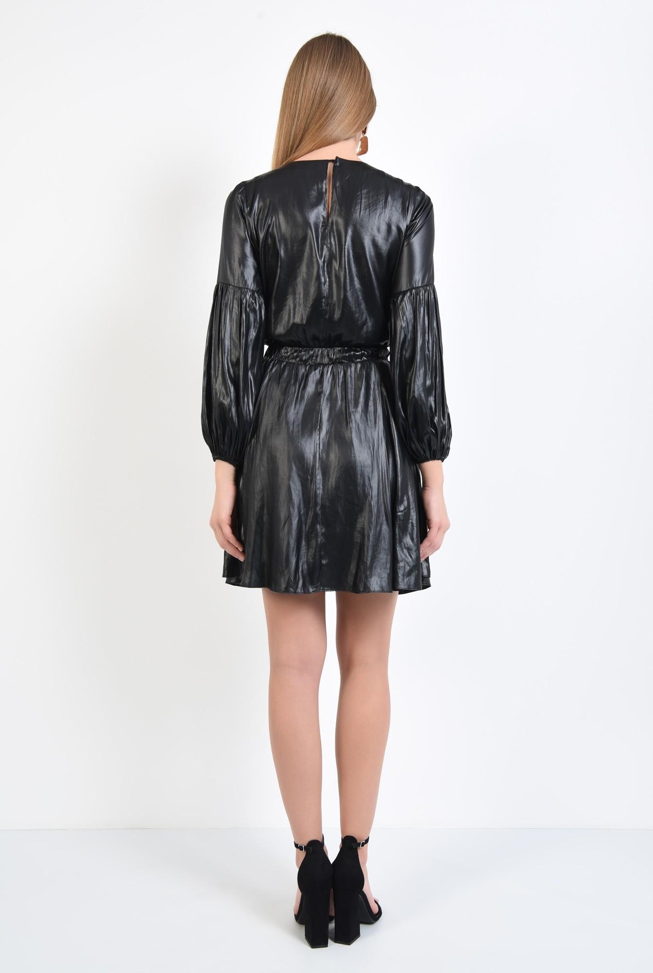 1 - rochie neagra, mini, casual, fronseuri la decolteu