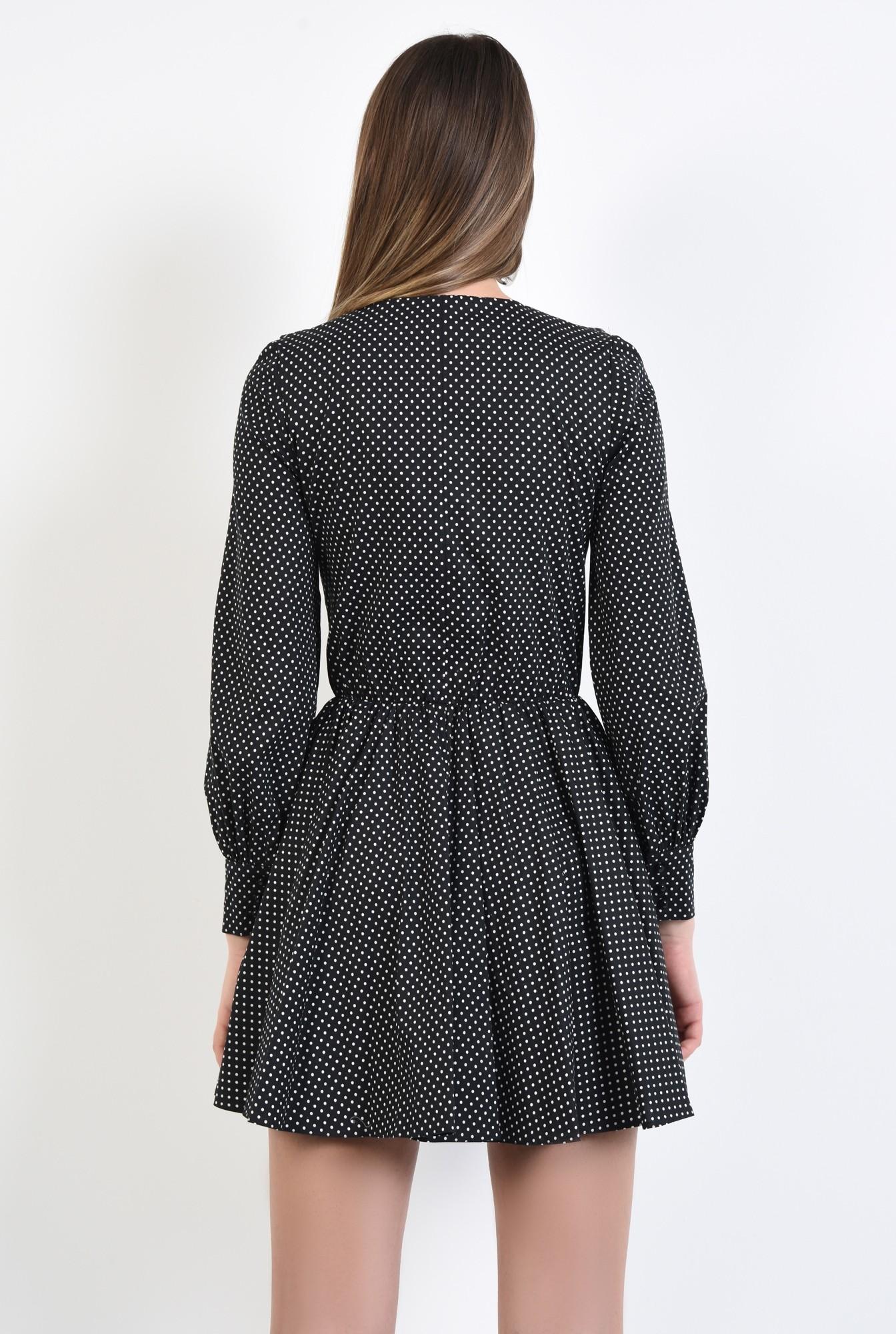 1 - rochie mini, neagra, cu volan, anchior, maneci lungi