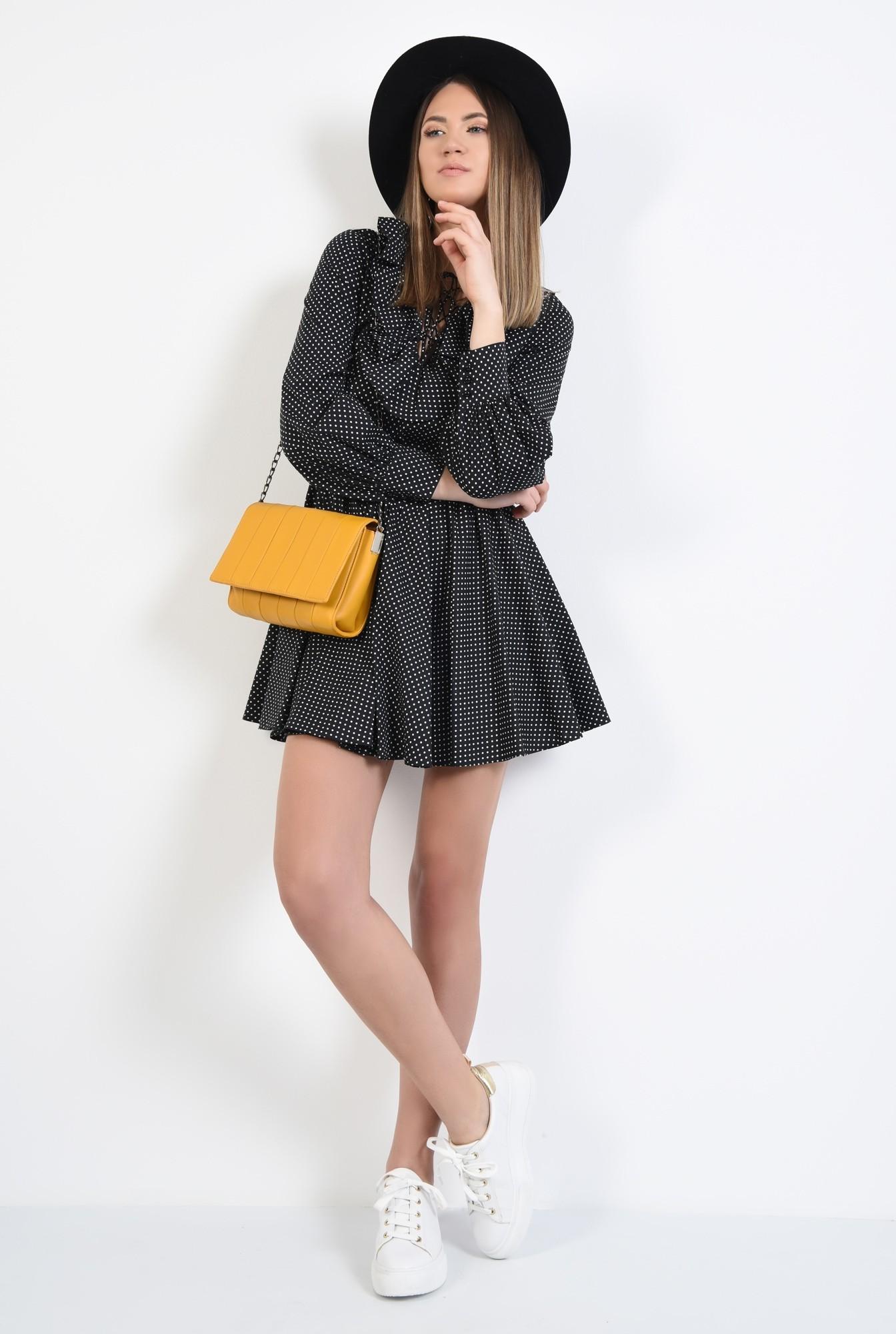3 - rochie mini, neagra, cu volan, anchior, maneci lungi