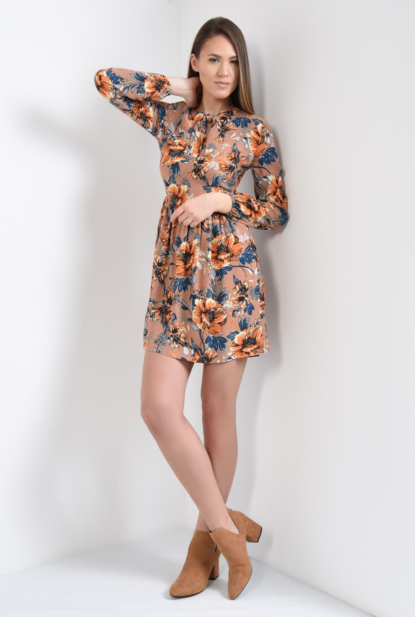 3 - rochie casual, de primavara, din vascoza, cu imprimeu floral