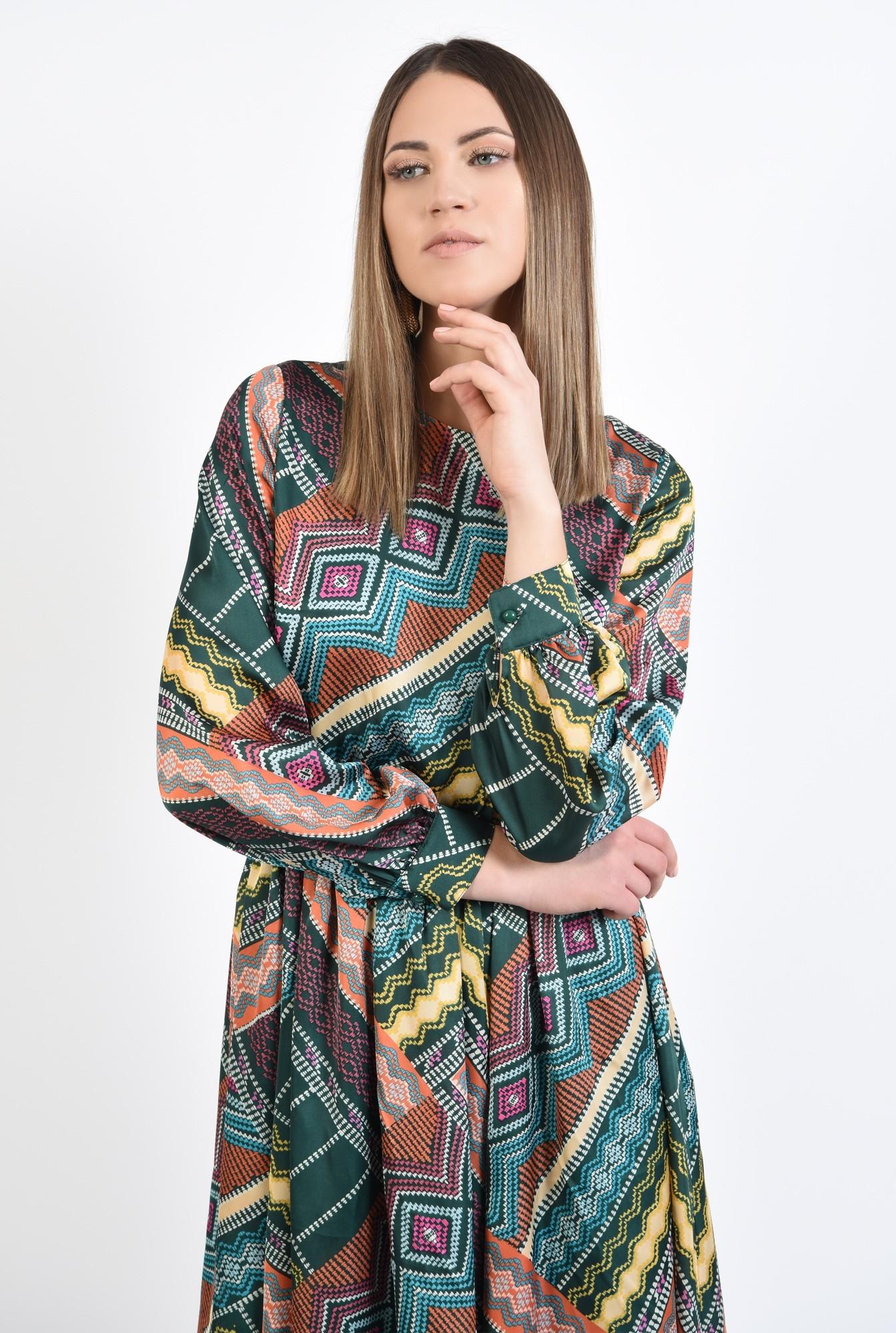2 - 360 - rochie casual, imprimata, print geometric multicolor, lungime midi, evazata