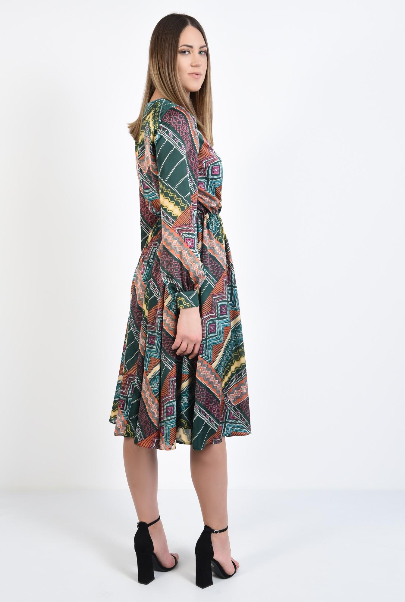 1 - 360 - rochie casual, imprimata, print geometric multicolor, lungime midi, evazata