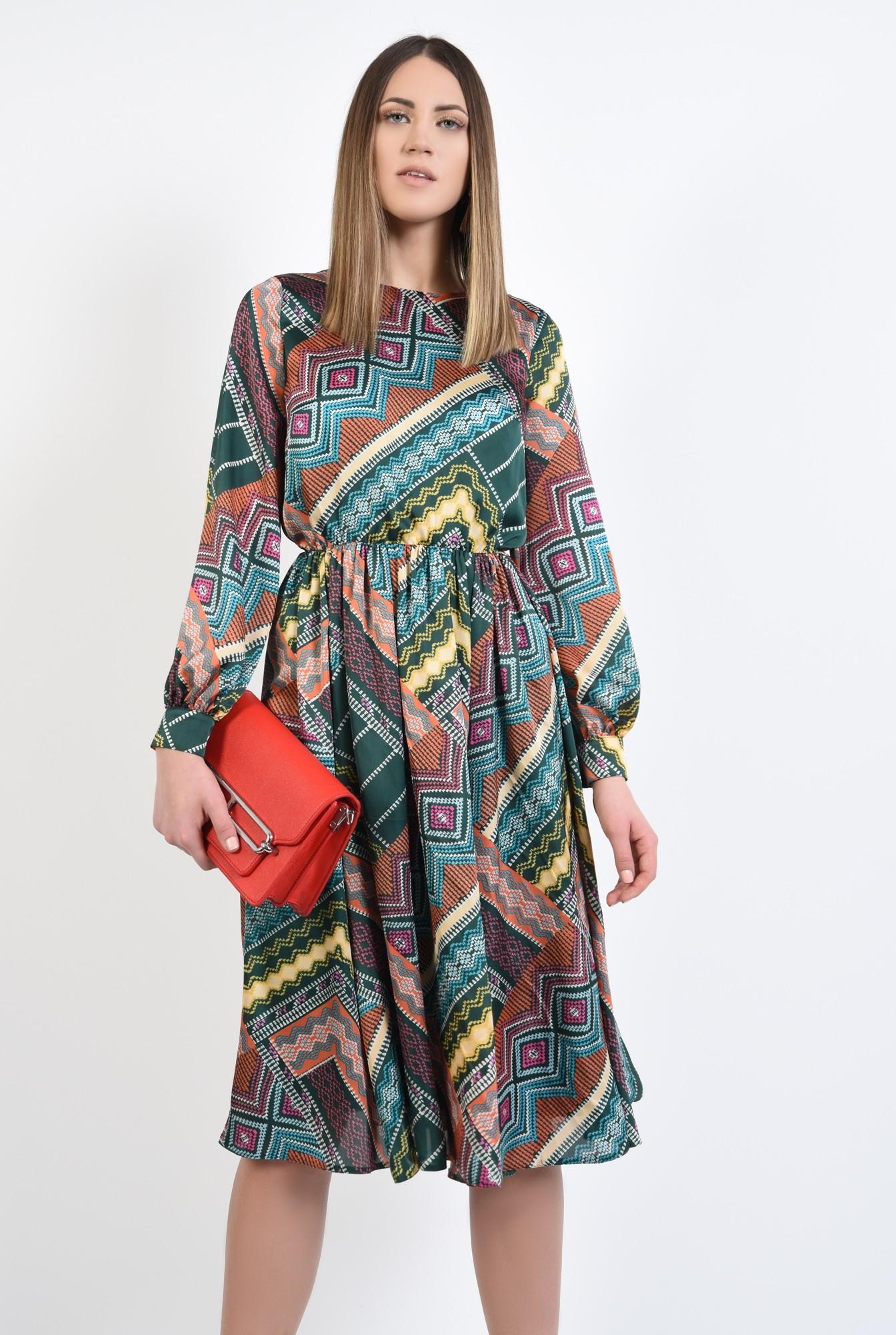 0 - 360 - rochie casual, imprimata, print geometric multicolor, lungime midi, evazata