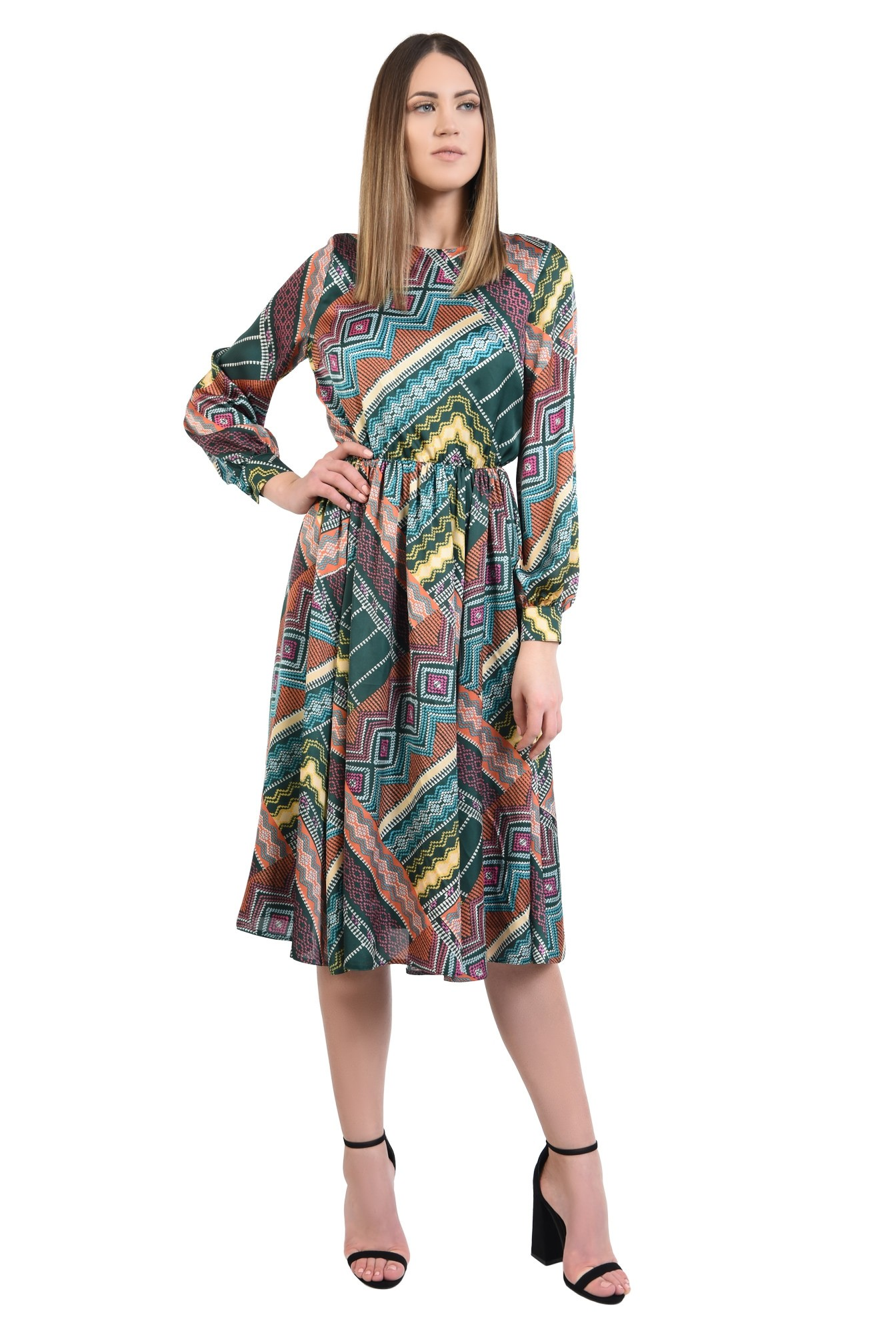 3 - 360 - rochie casual, imprimata, print geometric multicolor, lungime midi, evazata