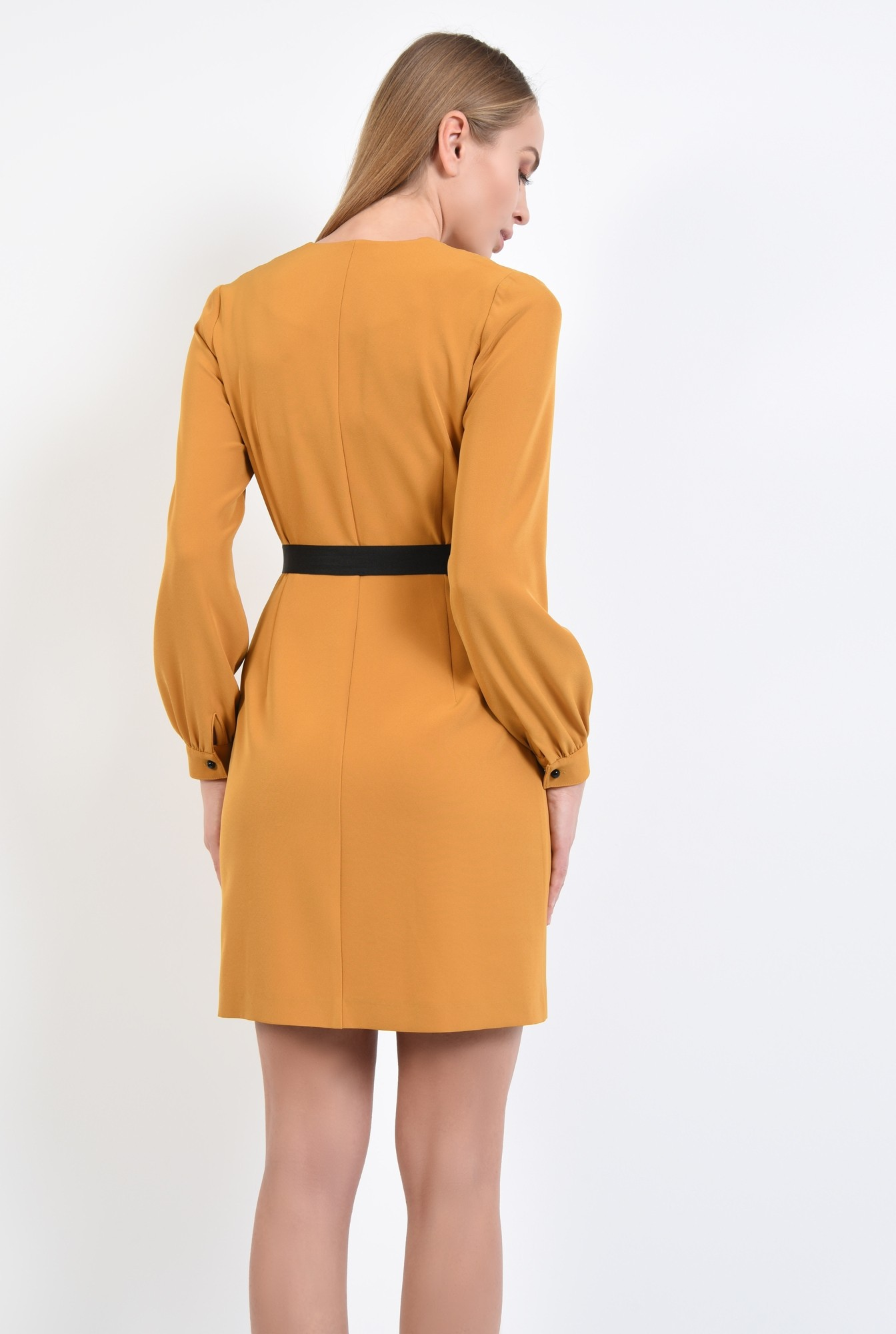 1 - rochie mustar, anchior petrecut, maneci lungi cu manseta, croi parte peste parte