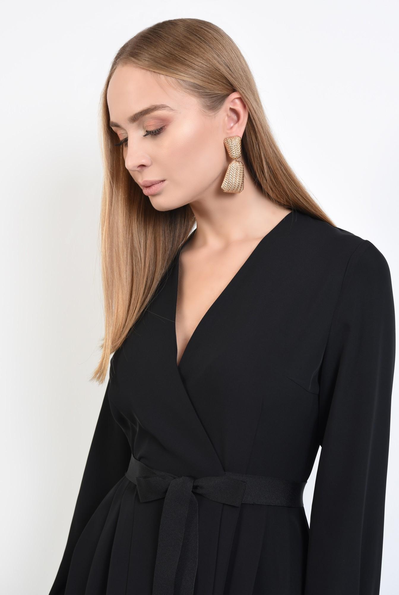2 - rochie neagra, casual, mini, croi parte peste parte