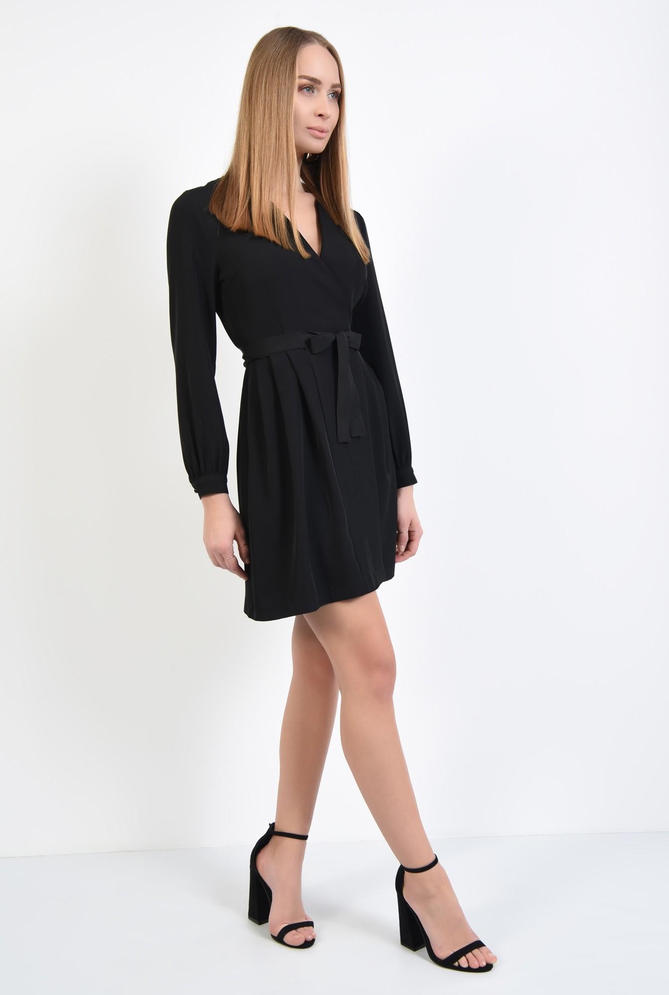 3 - rochie neagra, casual, mini, croi parte peste parte