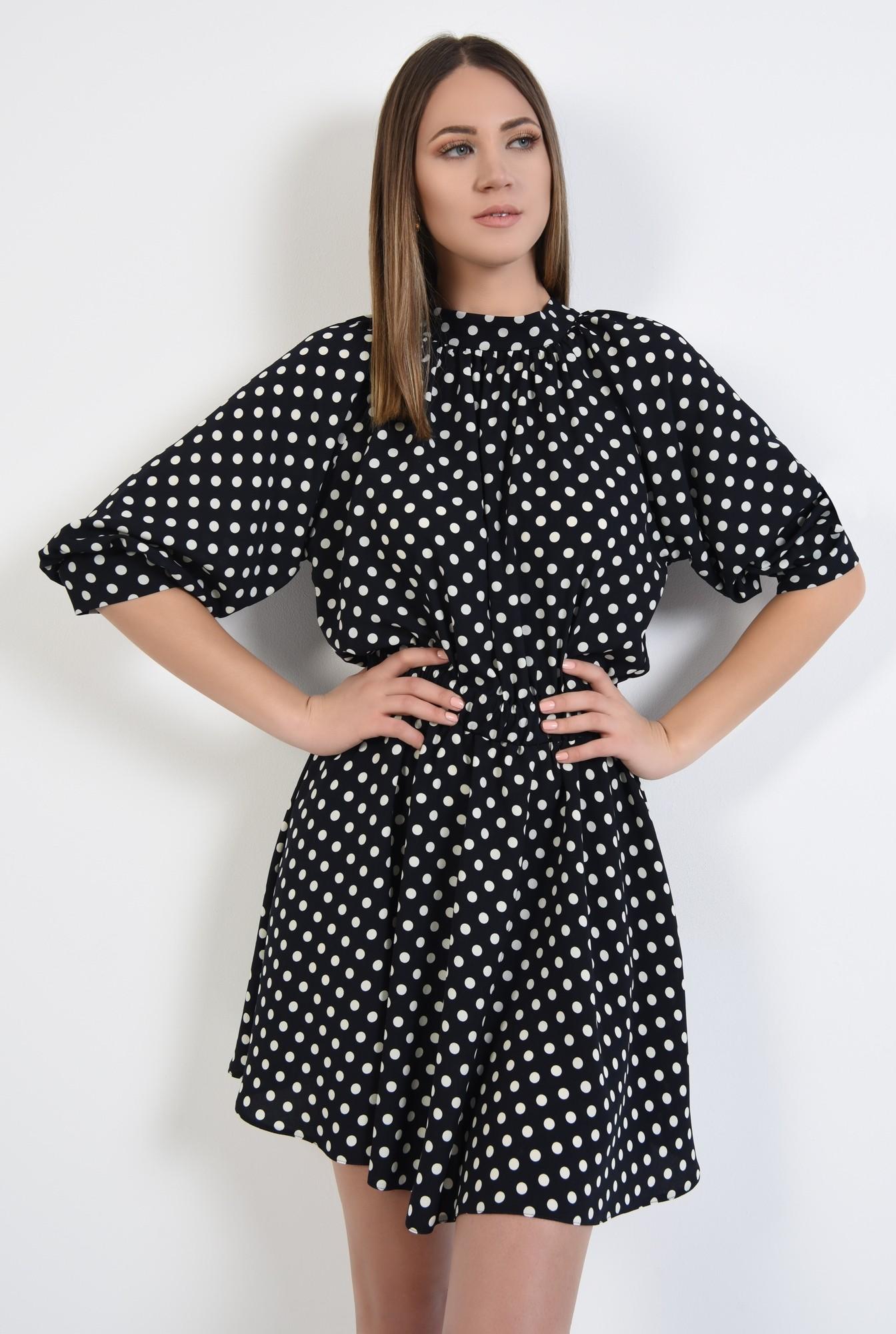 2 - rochie cu imprimeu, casual, mini, buline albe, drapata la guler