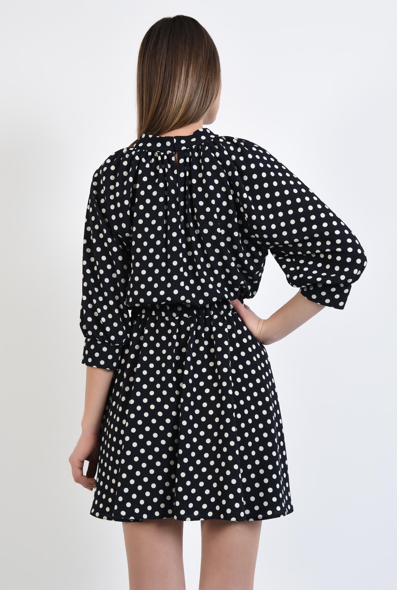 1 - rochie cu imprimeu, casual, mini, buline albe, drapata la guler