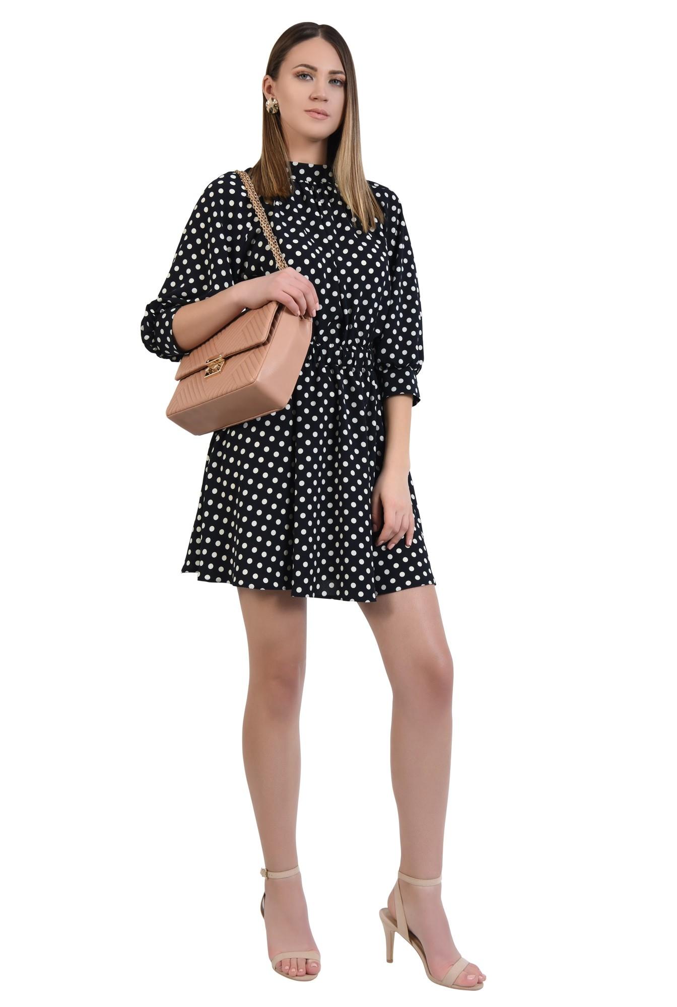 0 - rochie cu imprimeu, casual, mini, buline albe, drapata la guler