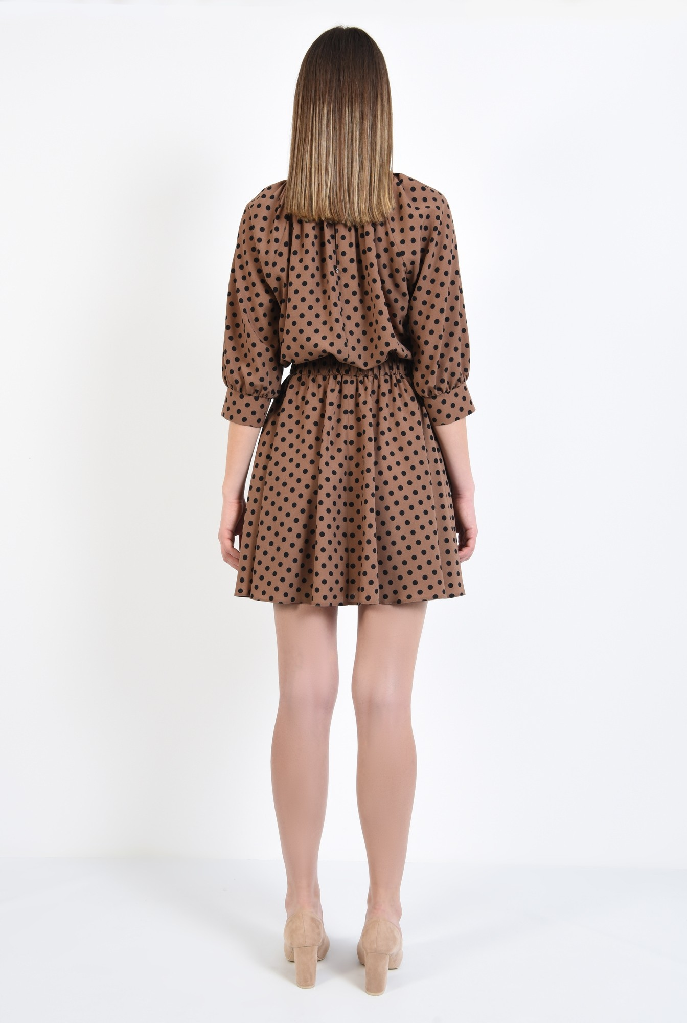 1 - rochie cu imprimeu, scurta, clos, maro, cu guler, elastic in talie