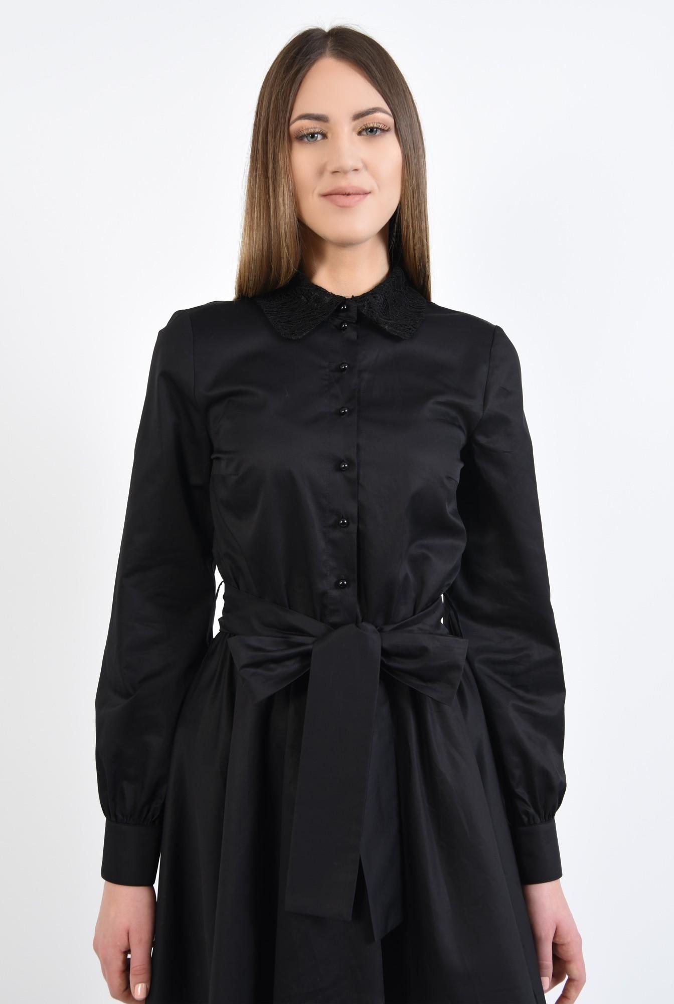 2 - 360 - rochie scurta, de zi, cu funda, guler din dantela