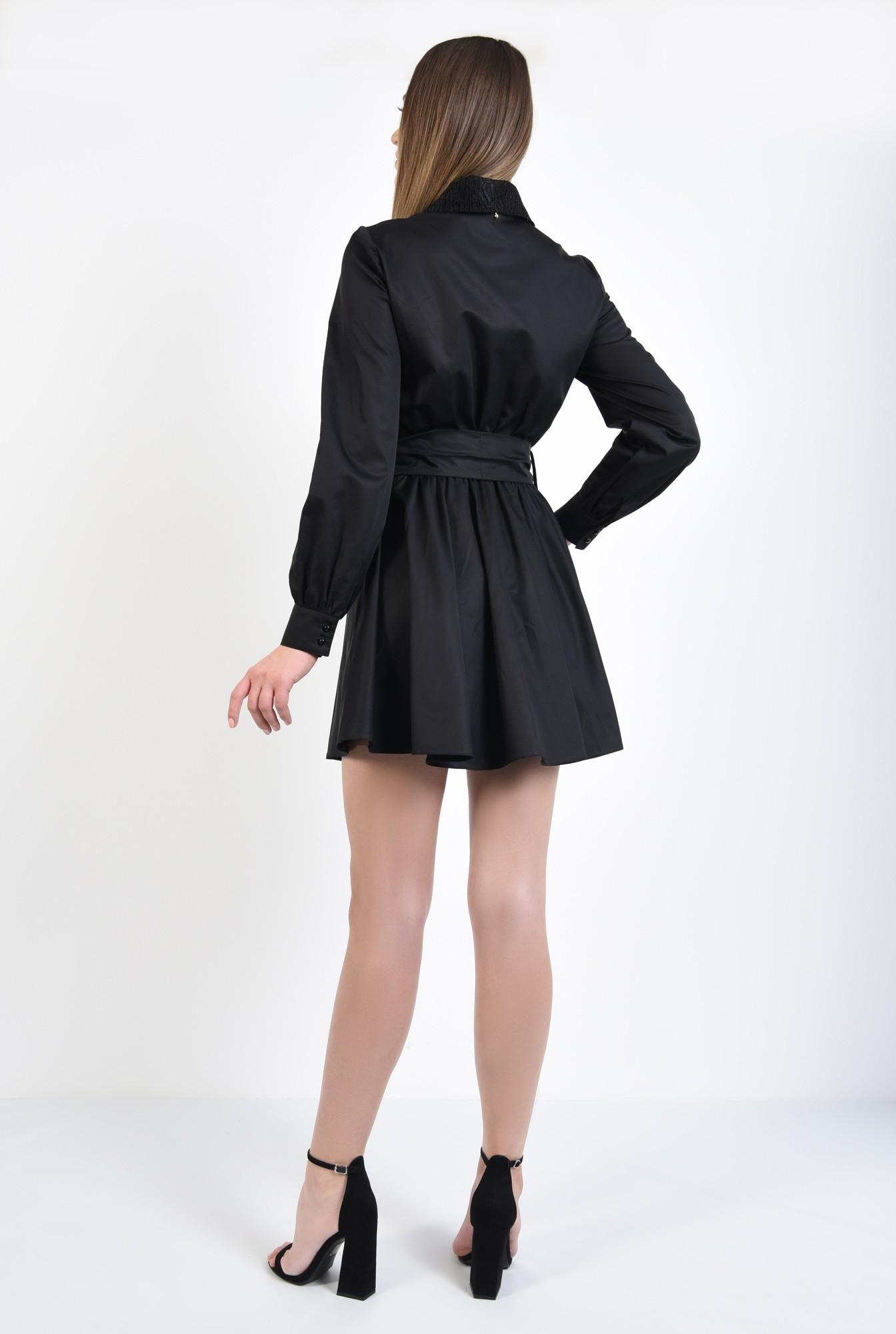 1 - 360 - rochie scurta, de zi, cu funda, guler din dantela