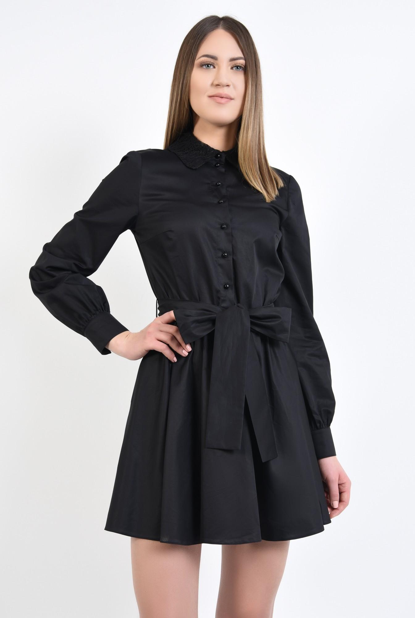 0 - 360 - rochie scurta, de zi, cu funda, guler din dantela